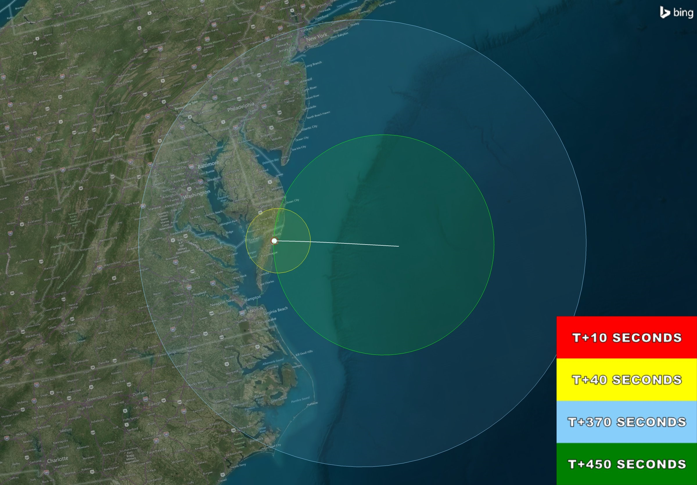 rocket launch visibility map for the mid atlantic