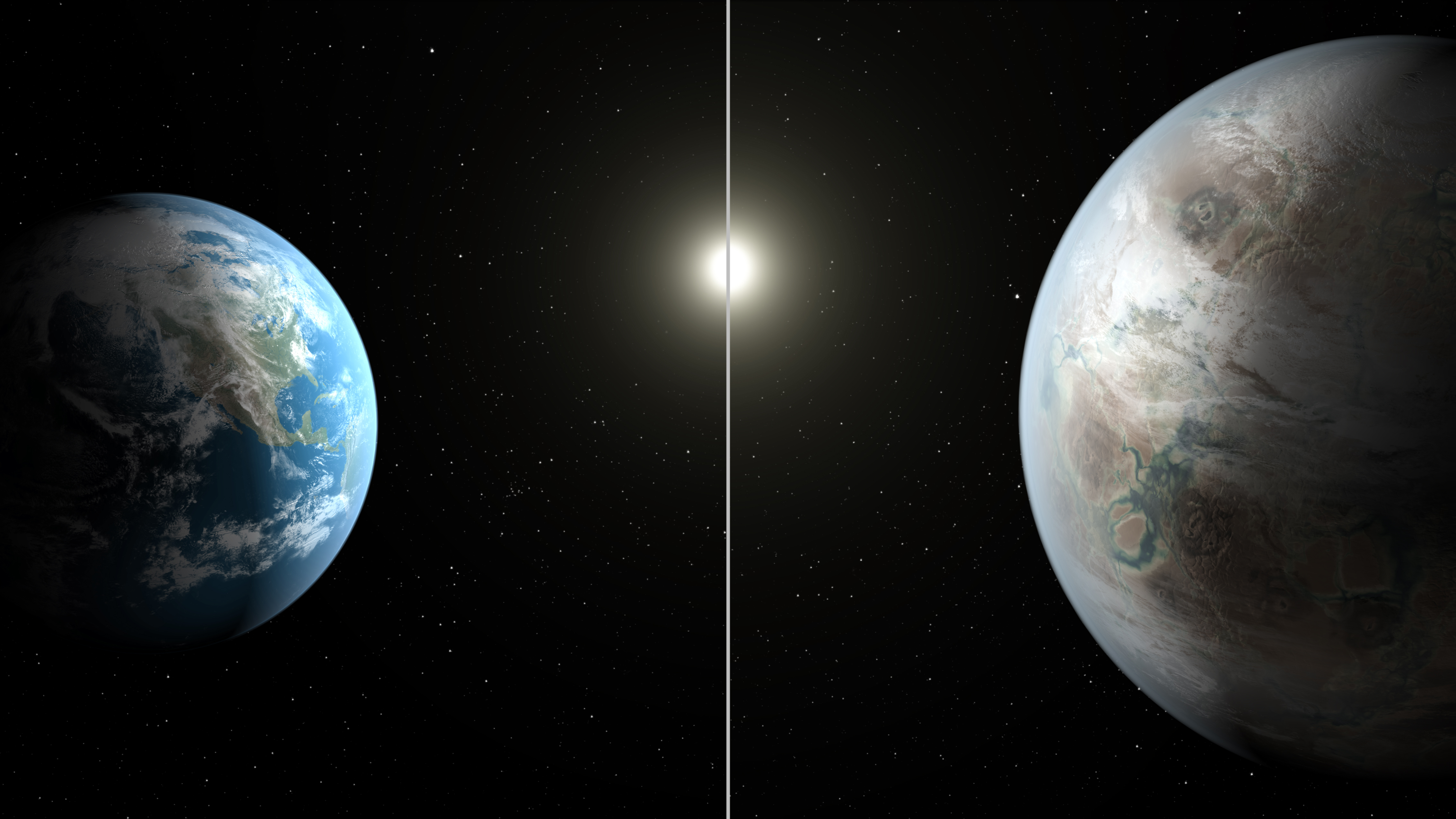 Earth and Kepler-452b - Artistic Concept