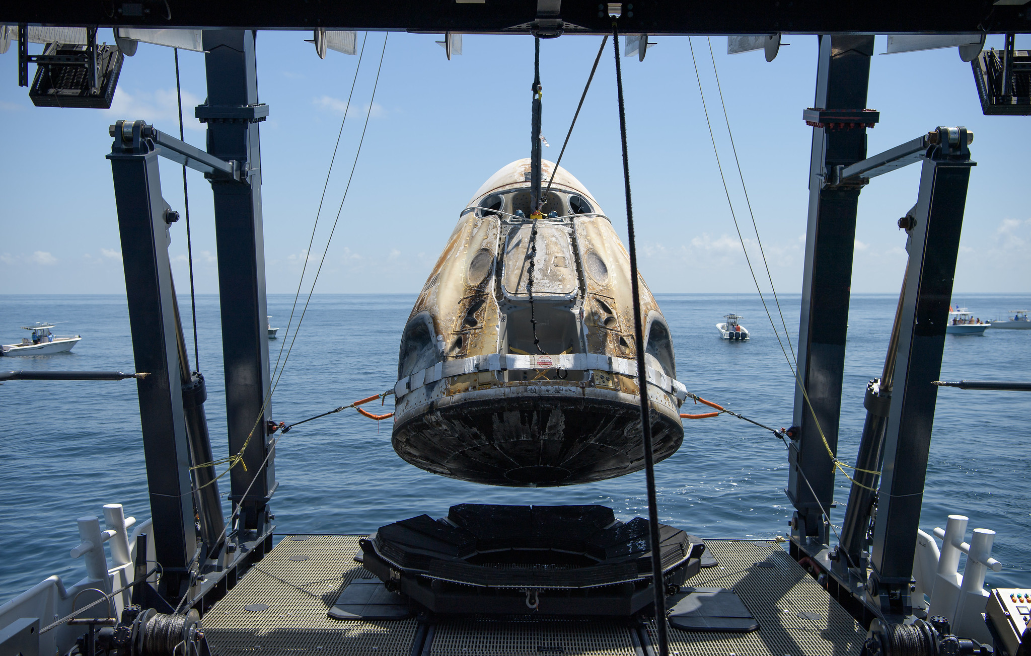 SpaceX Crew Dragon Endeavour Lifted Aboard Recovery Ship