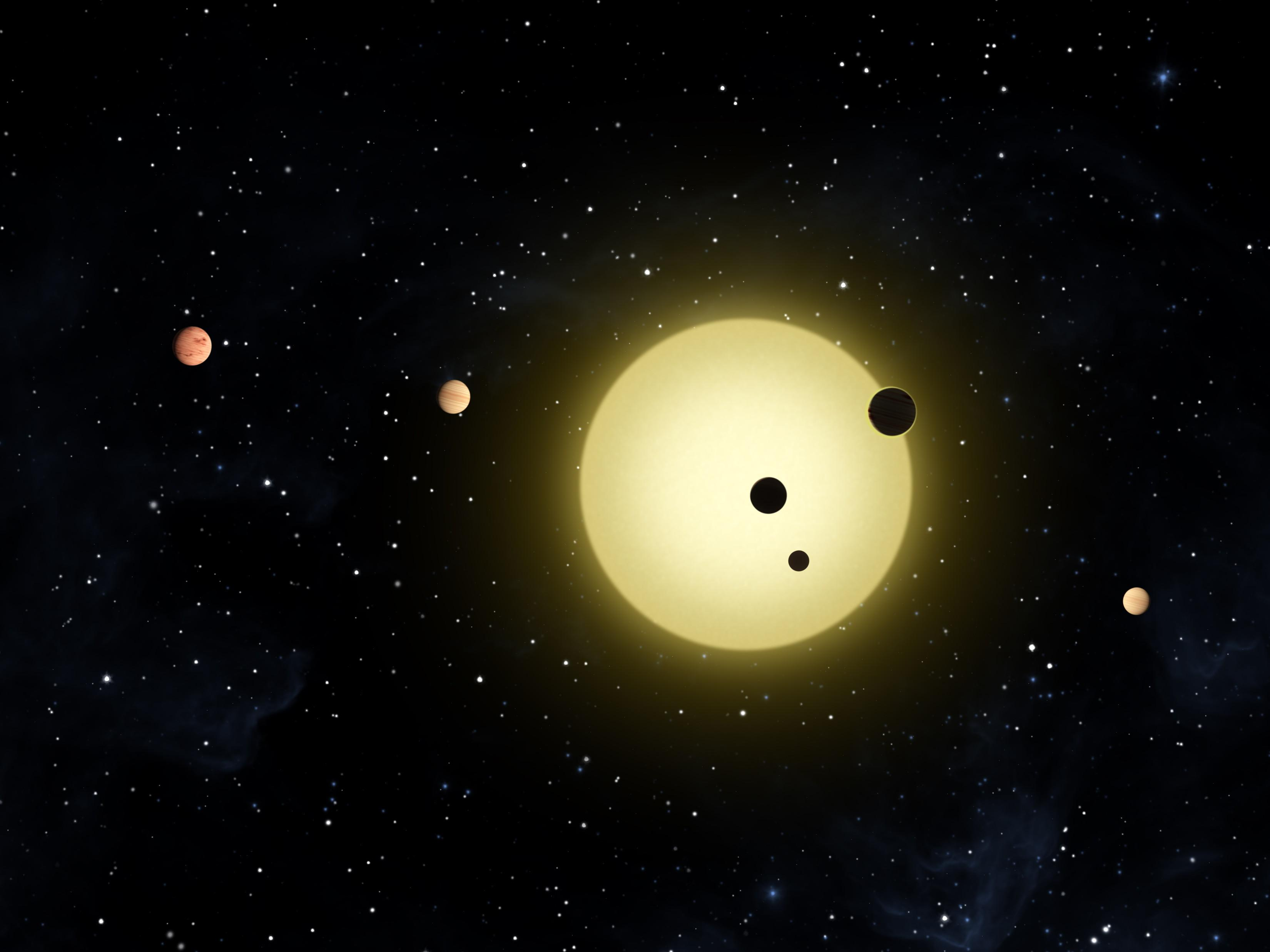 Artist Concept Of Sun Like Star With Planets Orbiting