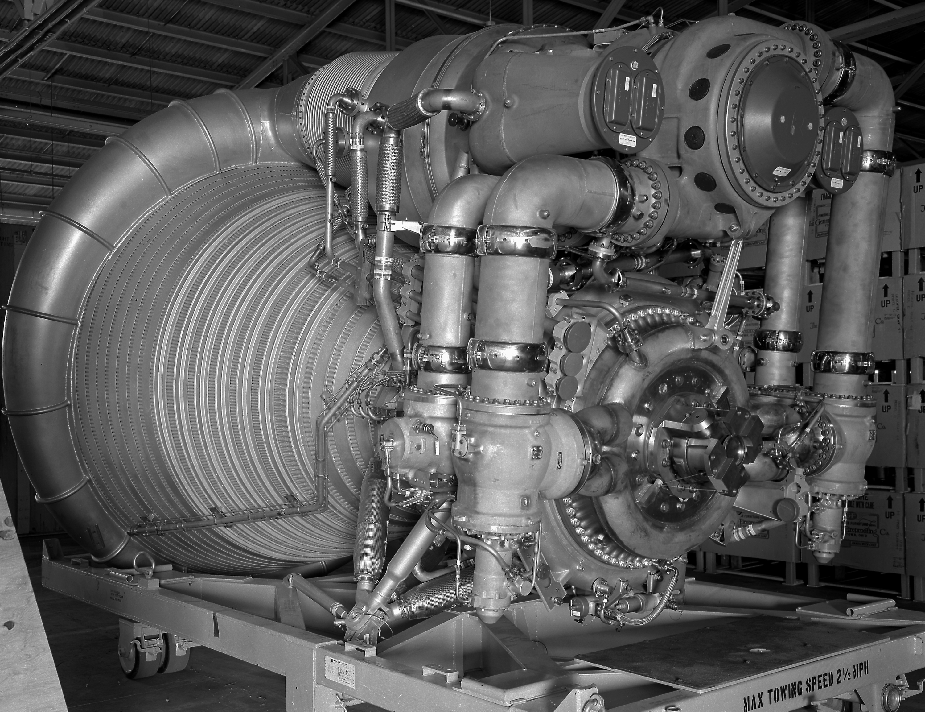 Closeup of single F-1 engine showing parts inside