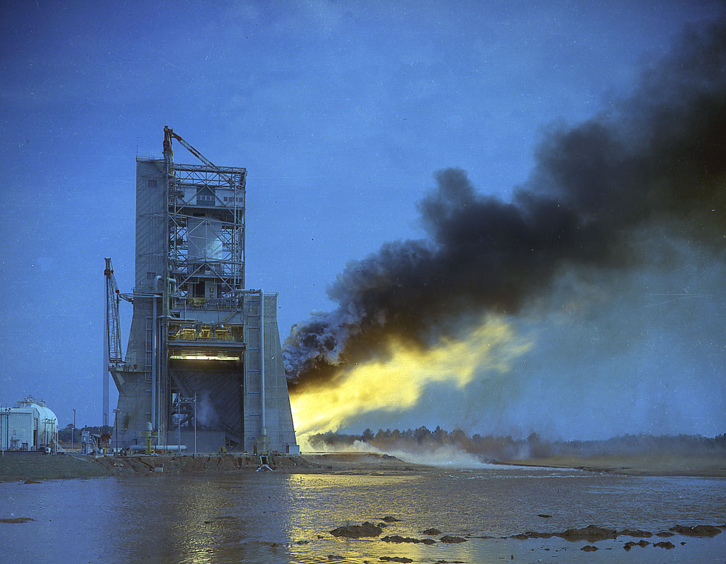 The F 1 Engine Powered Apollo Into History Nasa Saturn V F1 Diagram Test Firing Of Engines On Stand