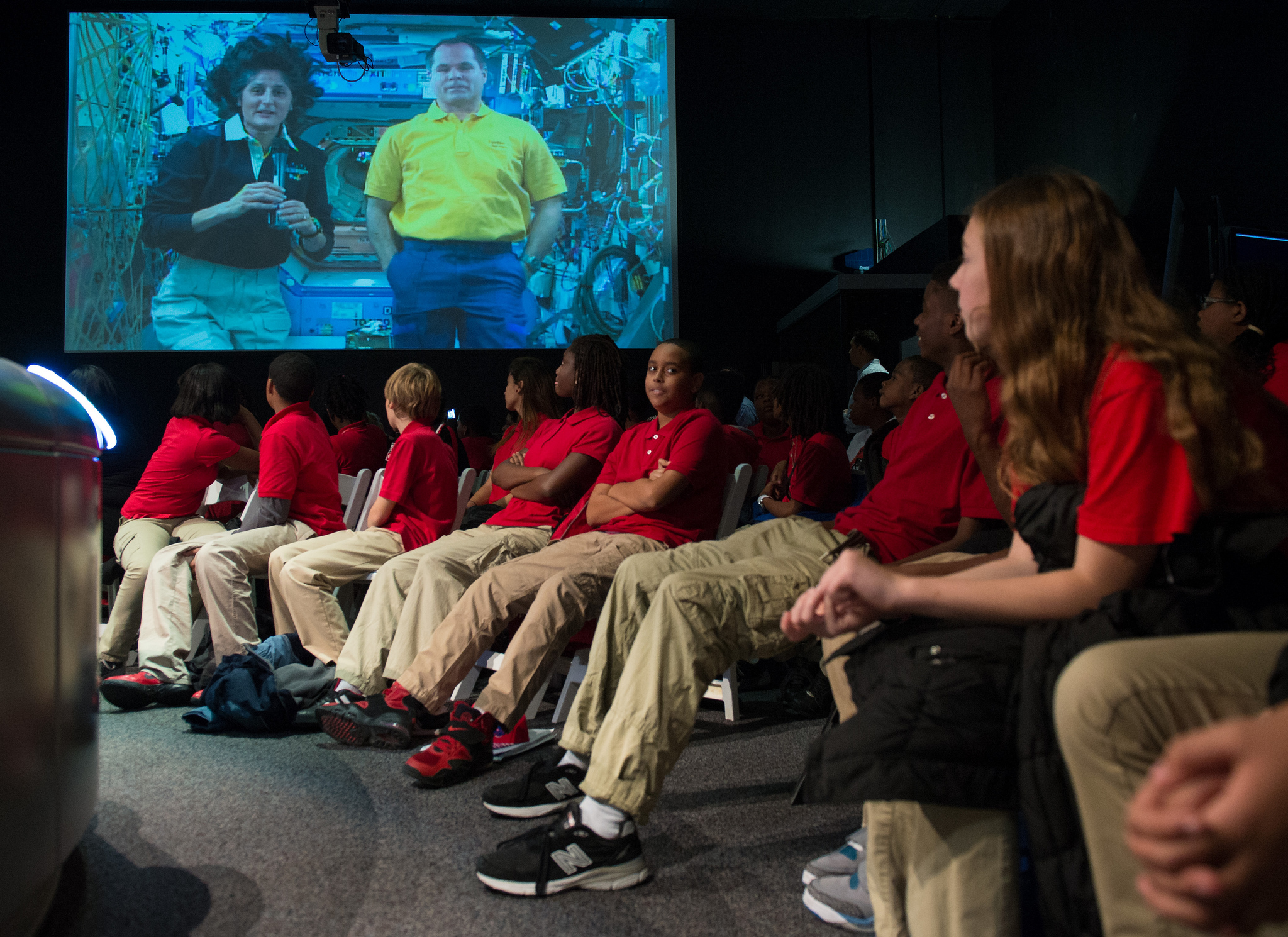 benefits for humanity protecting earth s natural resources nasa astronauts sunita williams on screen left and kevin ford answer student questions from
