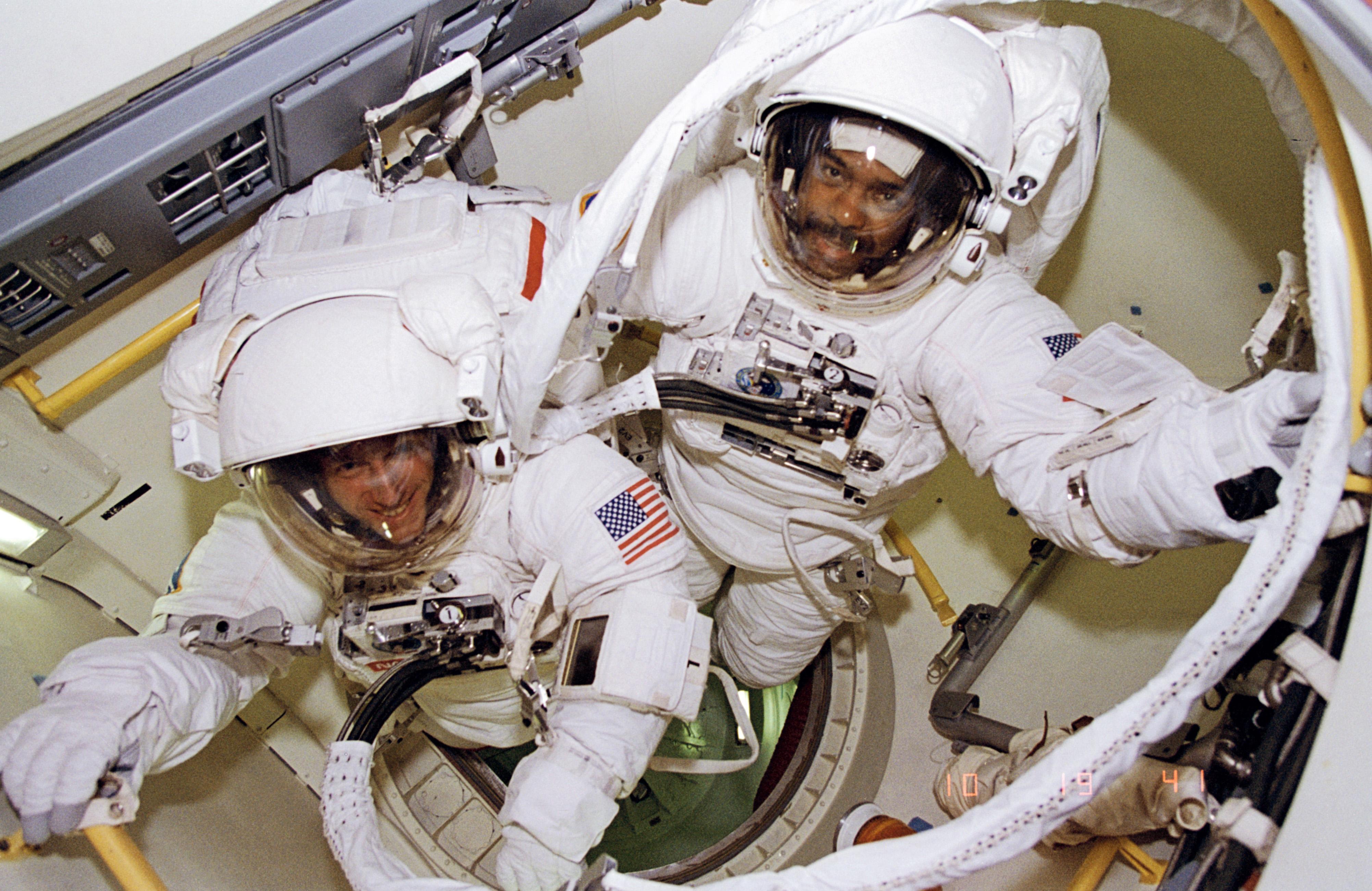 Feb. 9, 1995, Bernard Harris and Michael Foale Ready For a Spacewalk
