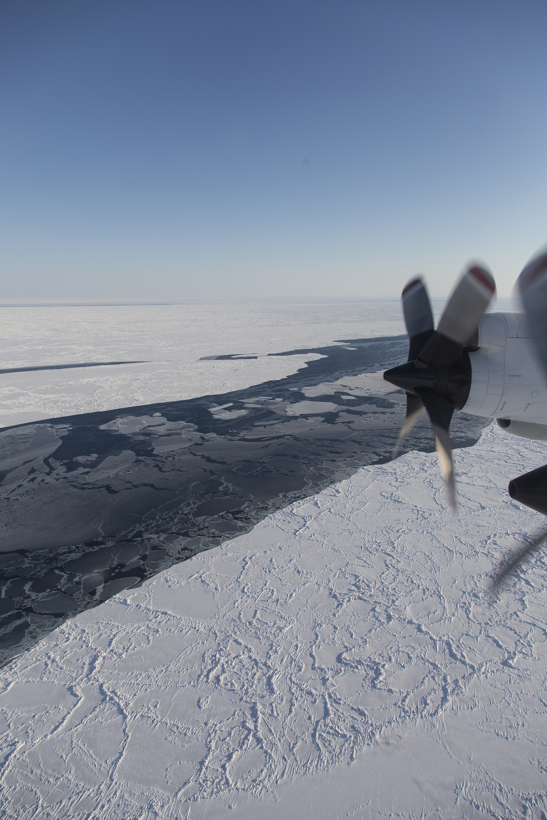 Operation IceBridge, NASA's aerial survey of polar ice, flies over a lead, or opening in the sea ice cover, near the Alaskan coast.