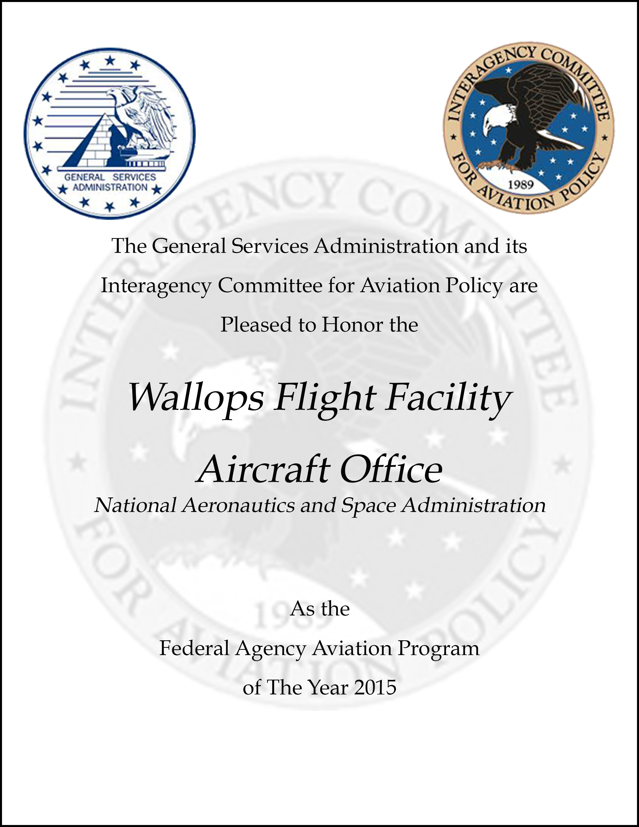 Wallops Aircraft Office Recognized as Best in the Federal