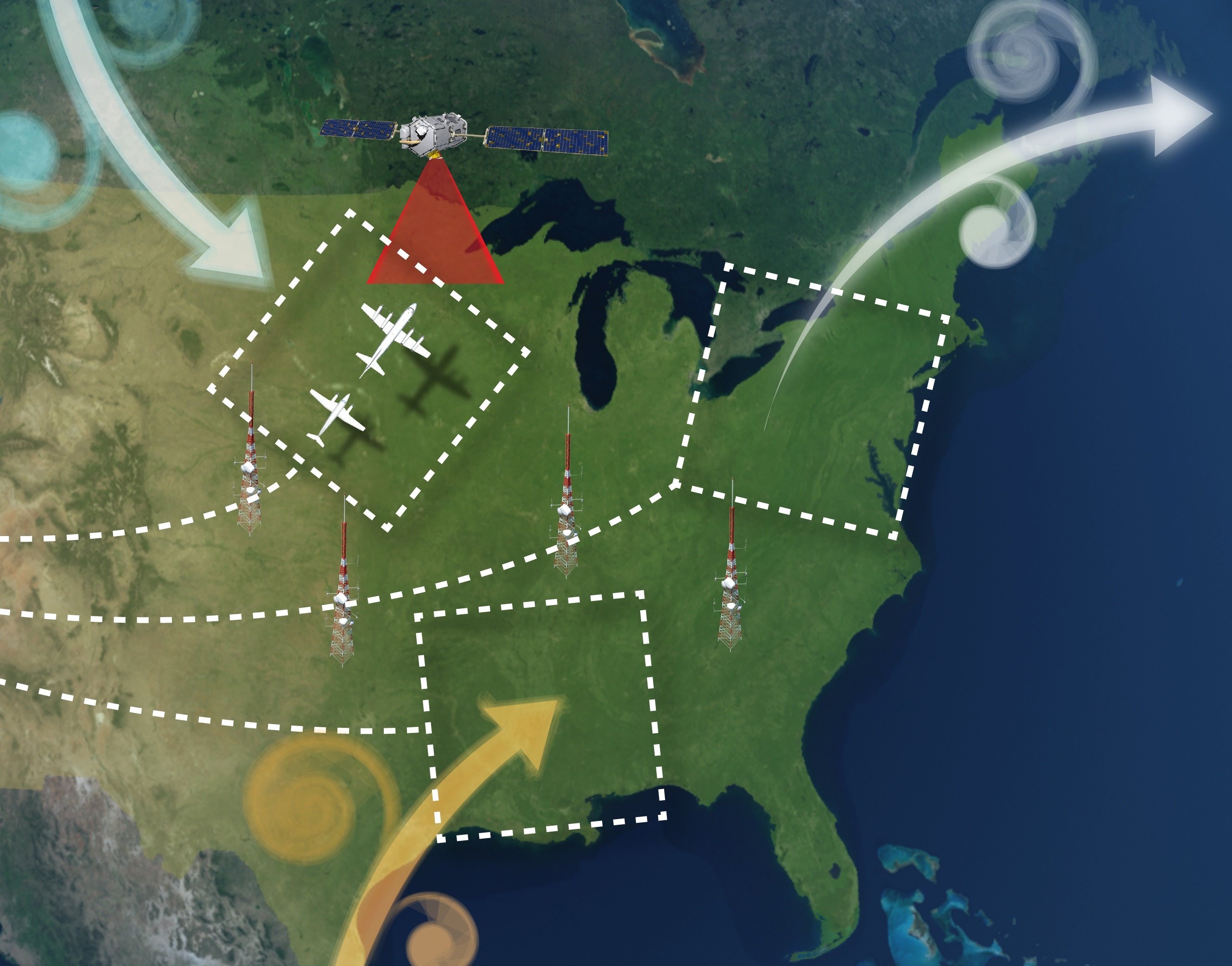 NASA Flights To Track Greenhouse Gases Across Eastern US NASA - Earth map show airplane travell from us to austrialia