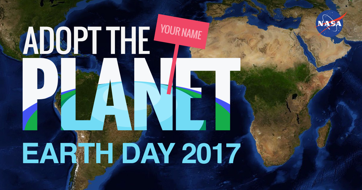 Celebrate earth day adopttheplanet nasa earth map satellite view with words gumiabroncs Image collections