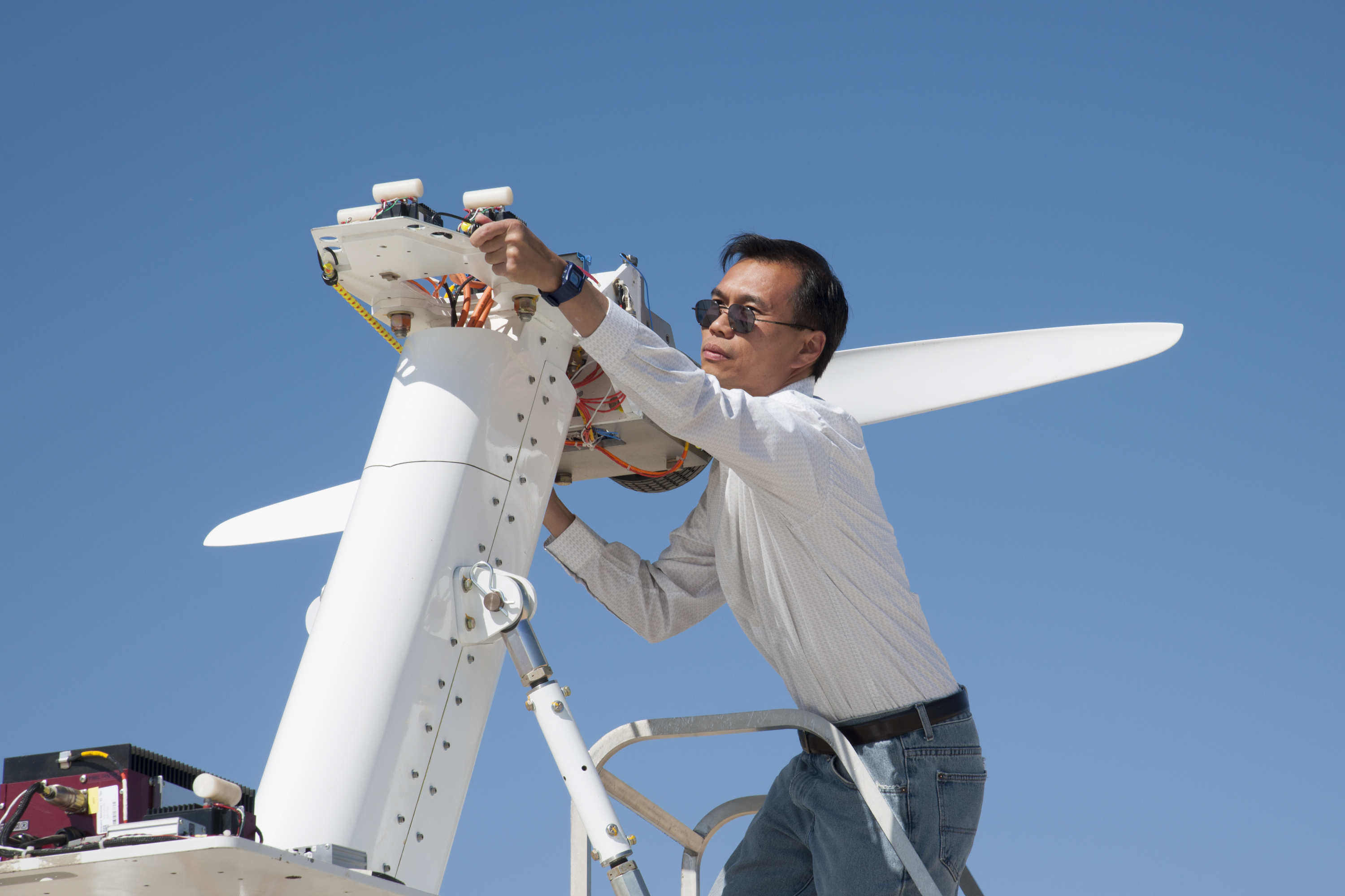 Electric design turns 22 - Aeronautics Yohan Lin Airvolt Integration Lead Prepares The Electric Propulsion Test Stand