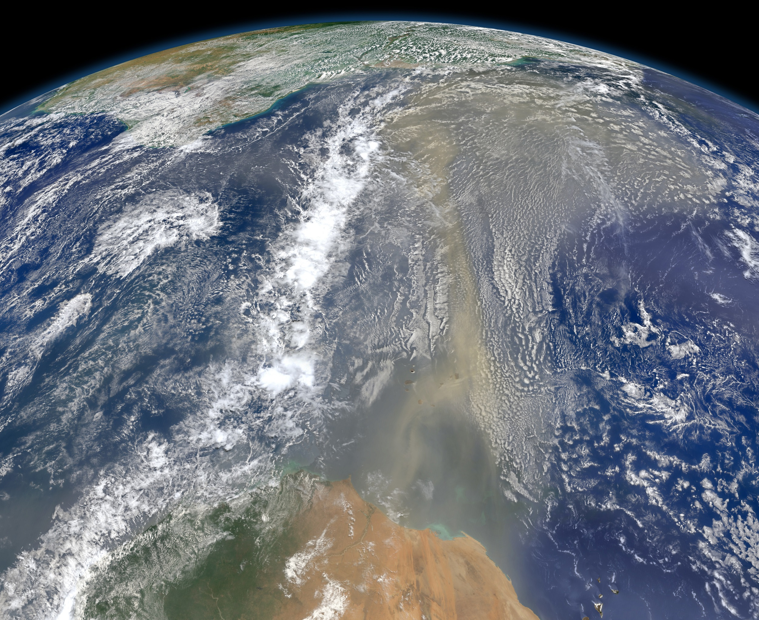 csi on the trail of a hazy global killer nasa air · satellite view of saharan africa and the edge of south america