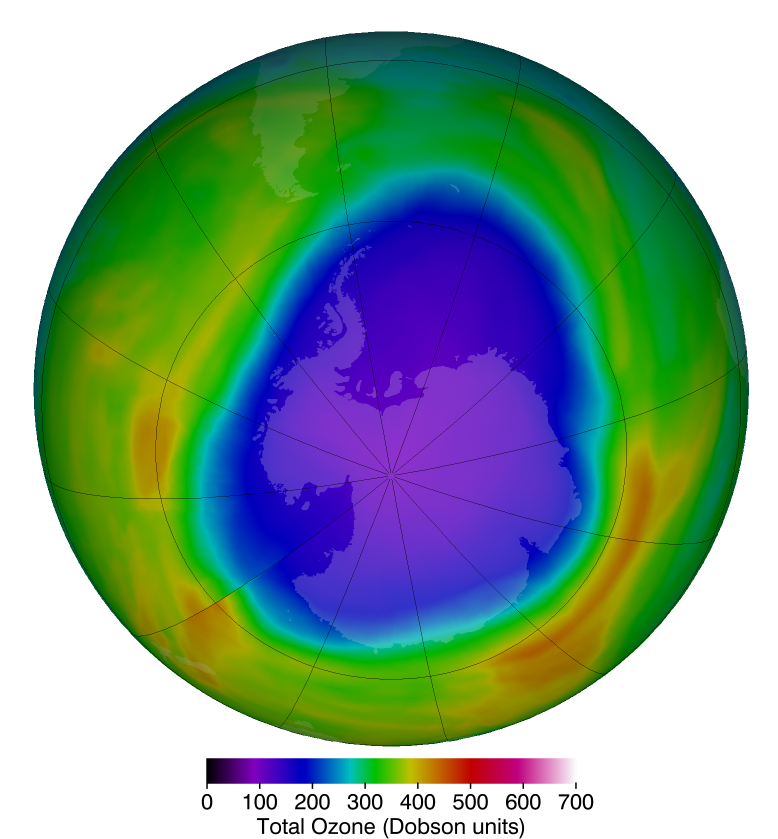 The Antarctic ozone hole that occurs annually in September and October during the Southern Hemisphere spring typically sees much lower ozone levels than in the Arctic. The purples and deep blues show the extent of low ozone levels on October 12, 2018, when they dropped to 104 Dobson units.