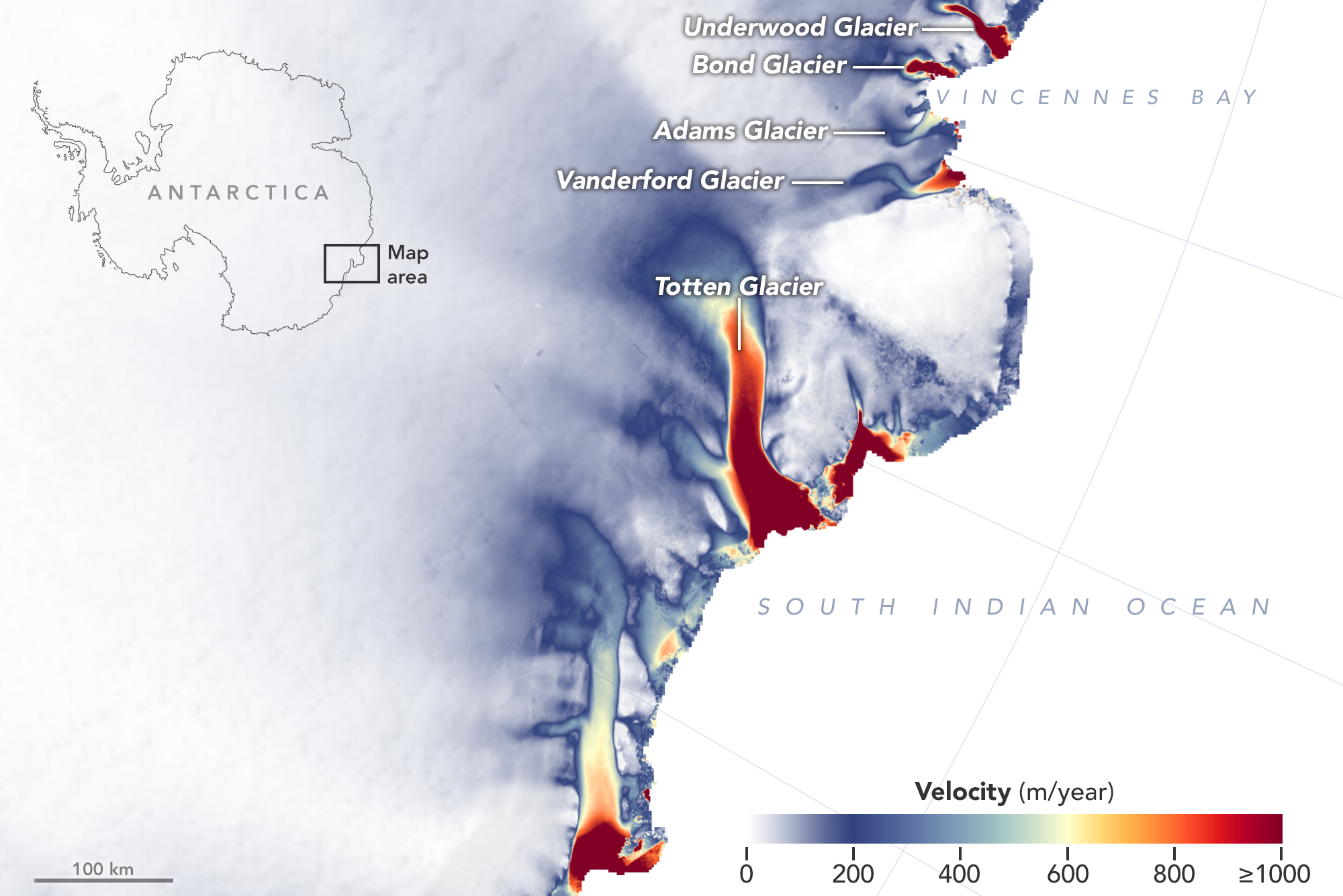 East Antarctica velocity map