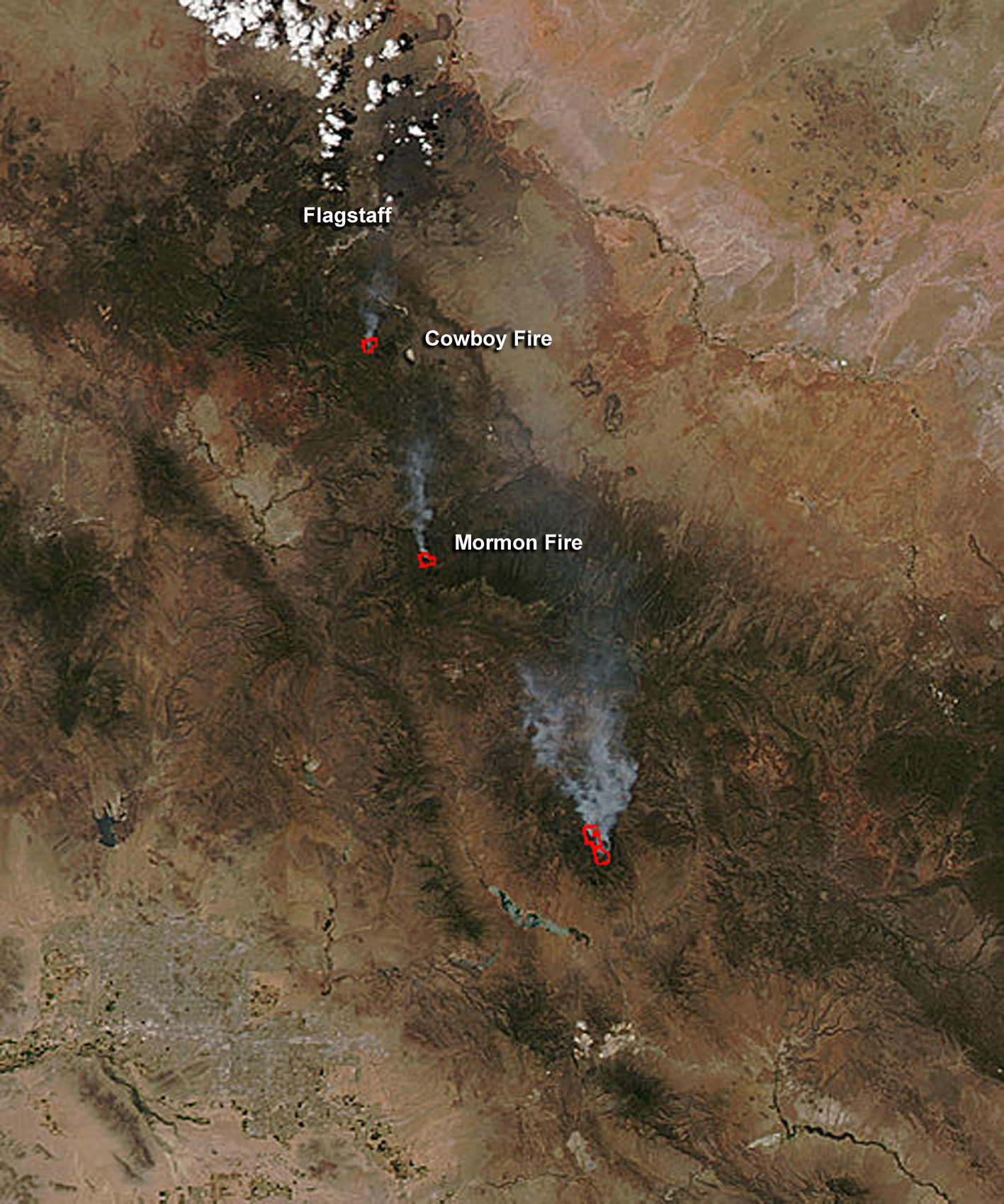 aqua satellite sees cowboy and mormon fires in arizona nasa nasa s aqua satellite sees cowboy and mormon fires in arizona