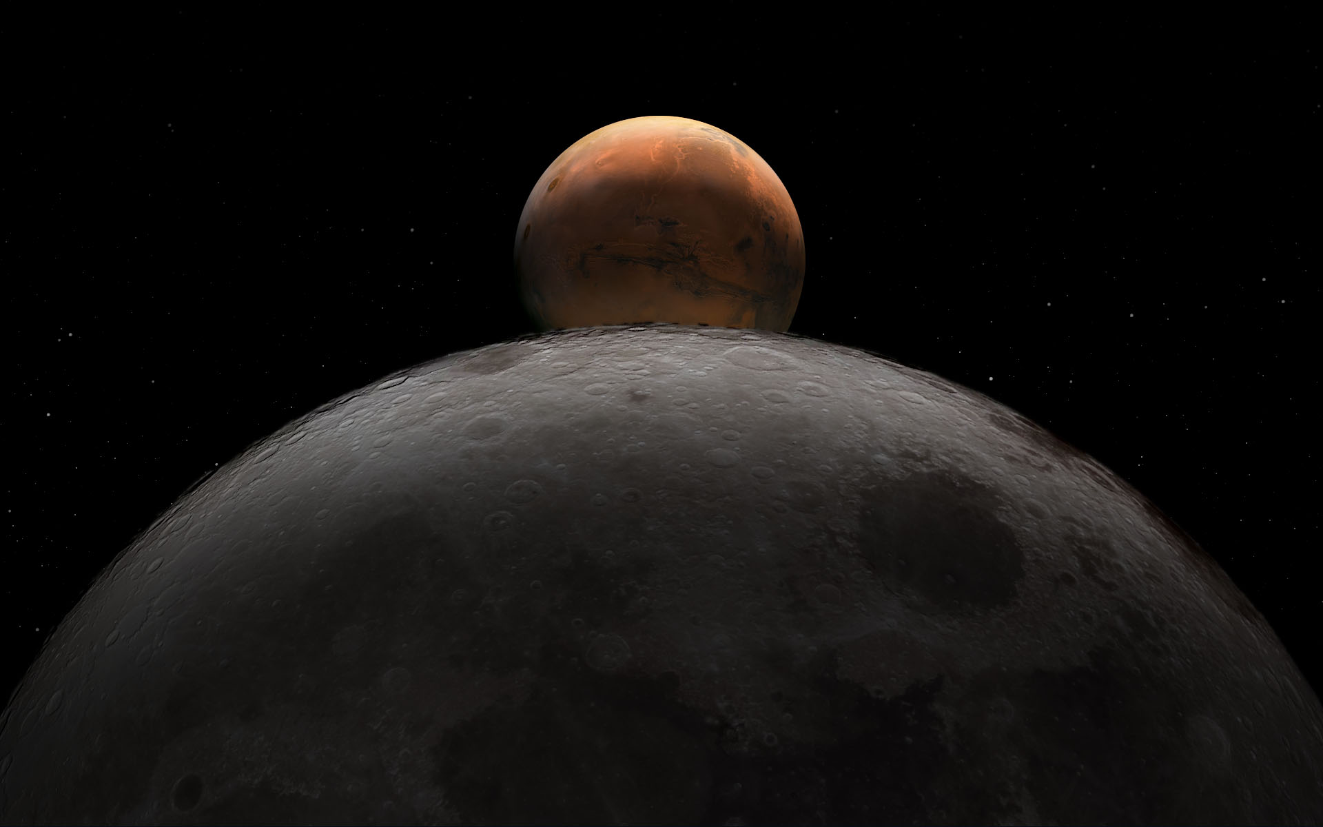 mars compared to the moon - HD 1920×1200