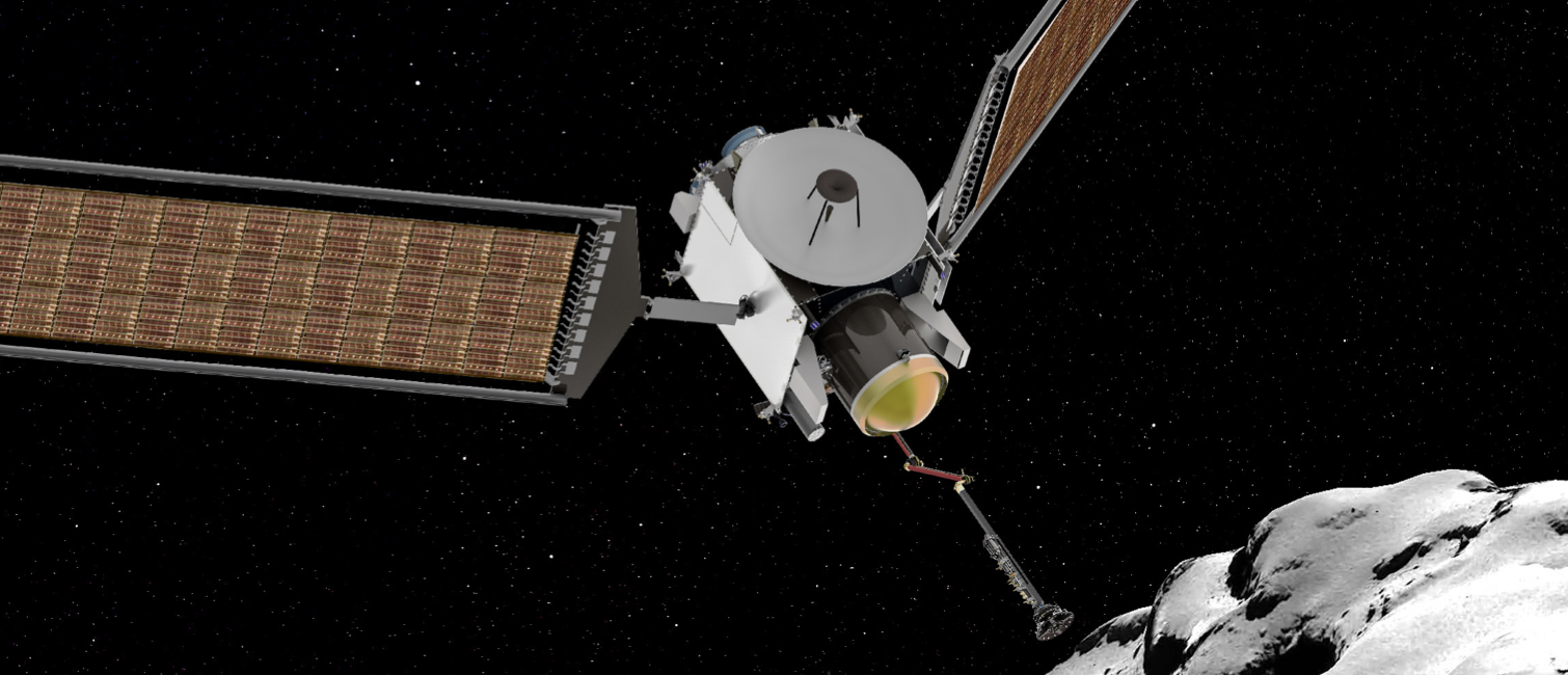 Konzeptskizze der CAESAR-Sonde im Moment des Anflugs an die Kometenoberfläche, Quelle: NASA
