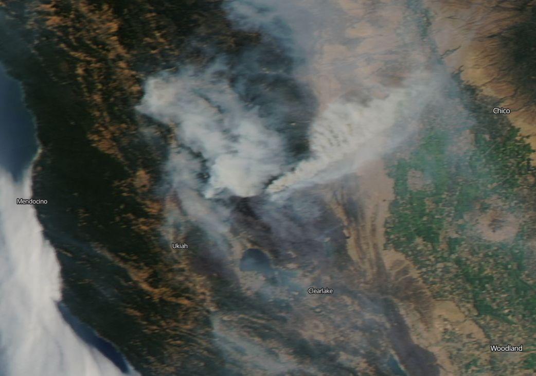 Mendocino Complex Fire Shrouds California in Smoke