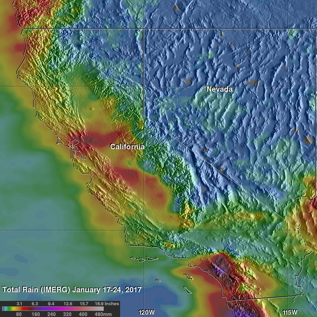 Nasa Observes Extreme Rainfall Over Southern California Nasa - Rainfall-map-us