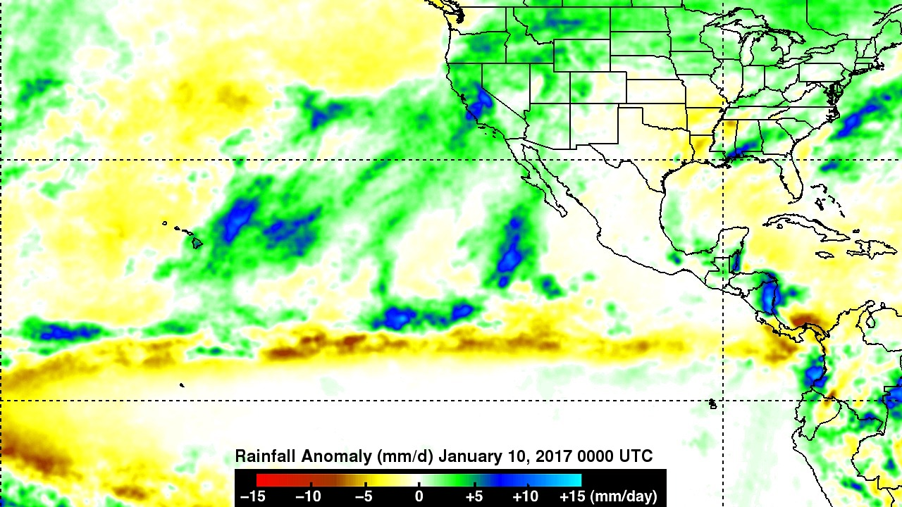 Nasa sees pineapple express deliver heavy rain flooding to rainfall anomalies for january 2017 sciox Choice Image