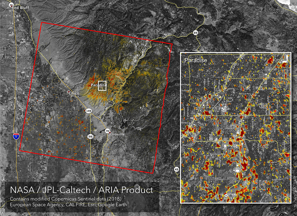 Updated NASA Damage Map of Camp Fire from Space | NASA on la fires map, bank of america map, cdcr map, gualala ca map, socal fires map, cal poly san, mariposa ca street map, national weather service map, western us fires map, rimfire map, blm map, wildfire map, cal fires in progress, calfire stations location map, caltrans map, dmv map, shasta calfire unit map, cali fires map, current ca fires map,