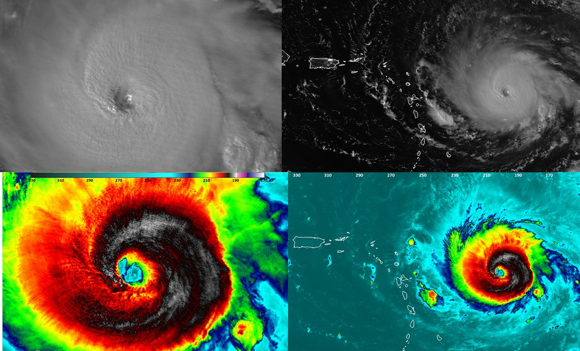 NASA-NOAA's Suomi NPP satellite flew over Irma at 1:54 a.m. AST Sept. 5, 2017, when it was still a Category 4 hurricane., Night-time images showed a well-defined eye with convection most of the way around it. Both the infrared and Day-Night Band both show tropospheric gravity waves. Think of them the waves generated if you dropped a rock into a pond, but in this case it is convection punching upward. Credits: NASA/NOAA/UWM/CIMSS/William Straka III