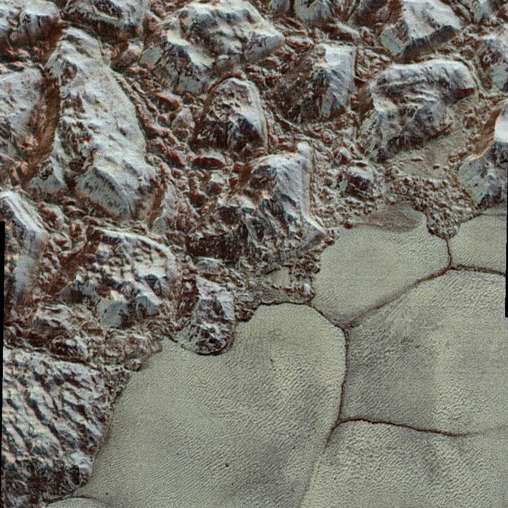 Las montañas Shoreline del Sputnik Planum