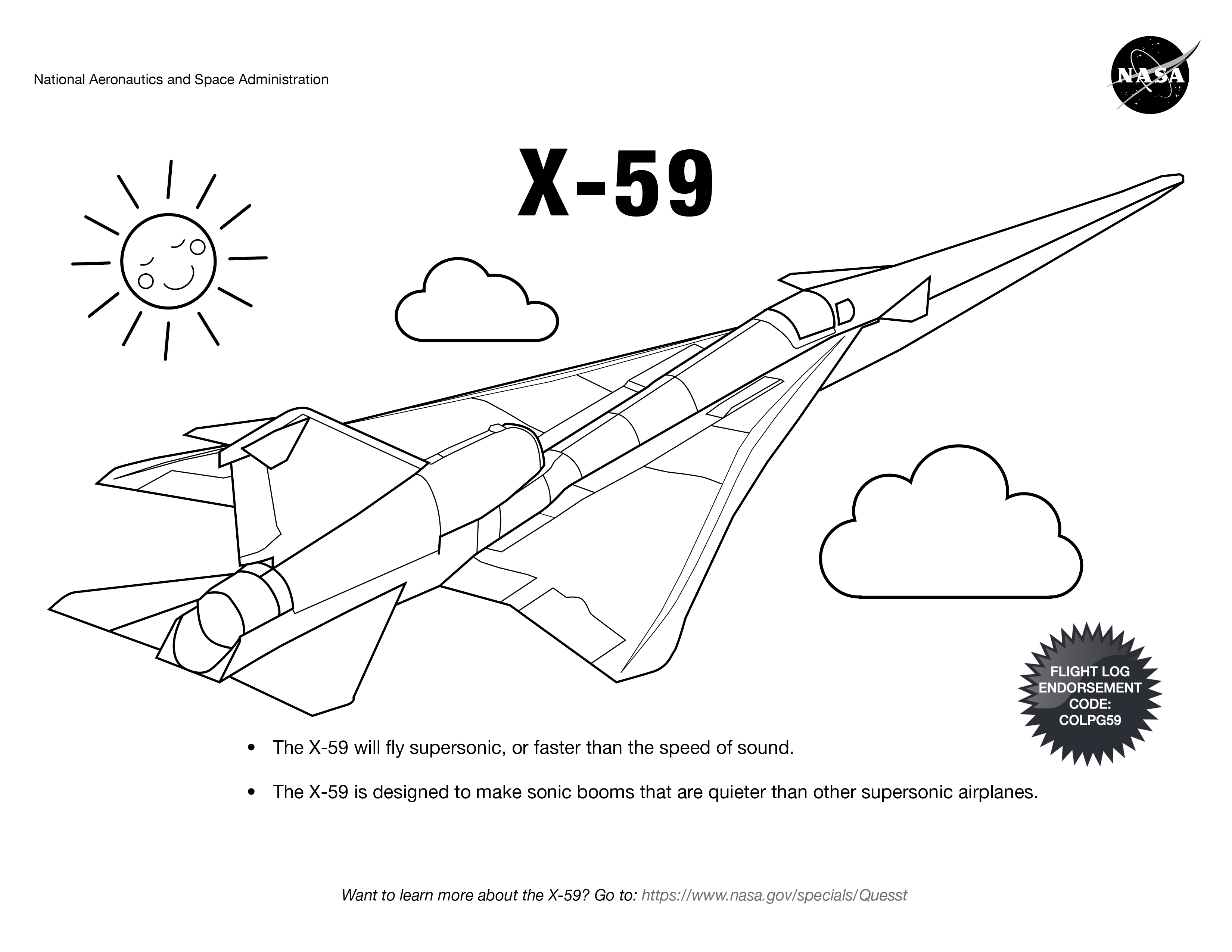 Airplane Coloring Pages For Kids Nasa