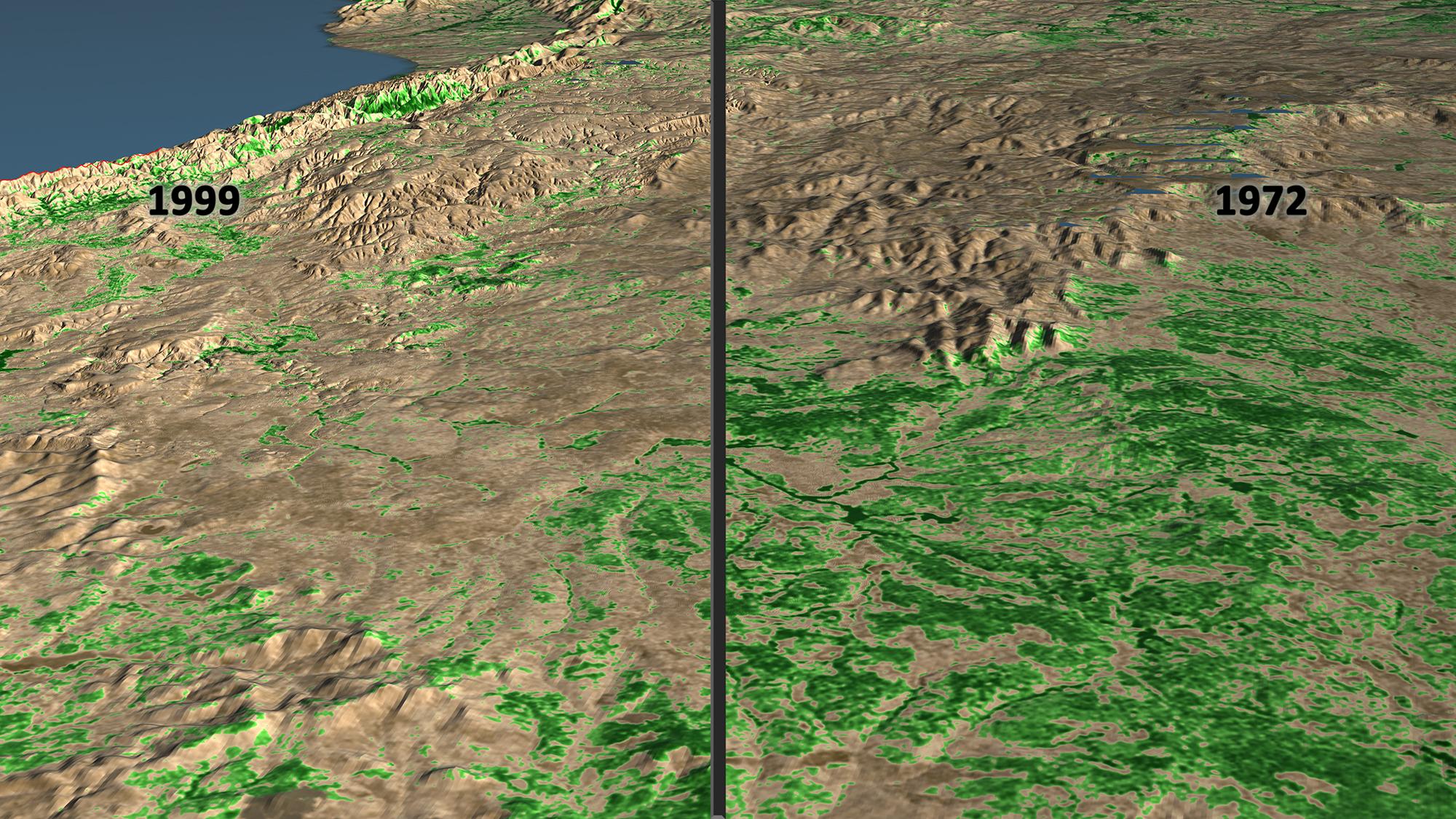 Side By Side Image Showing Deforestation