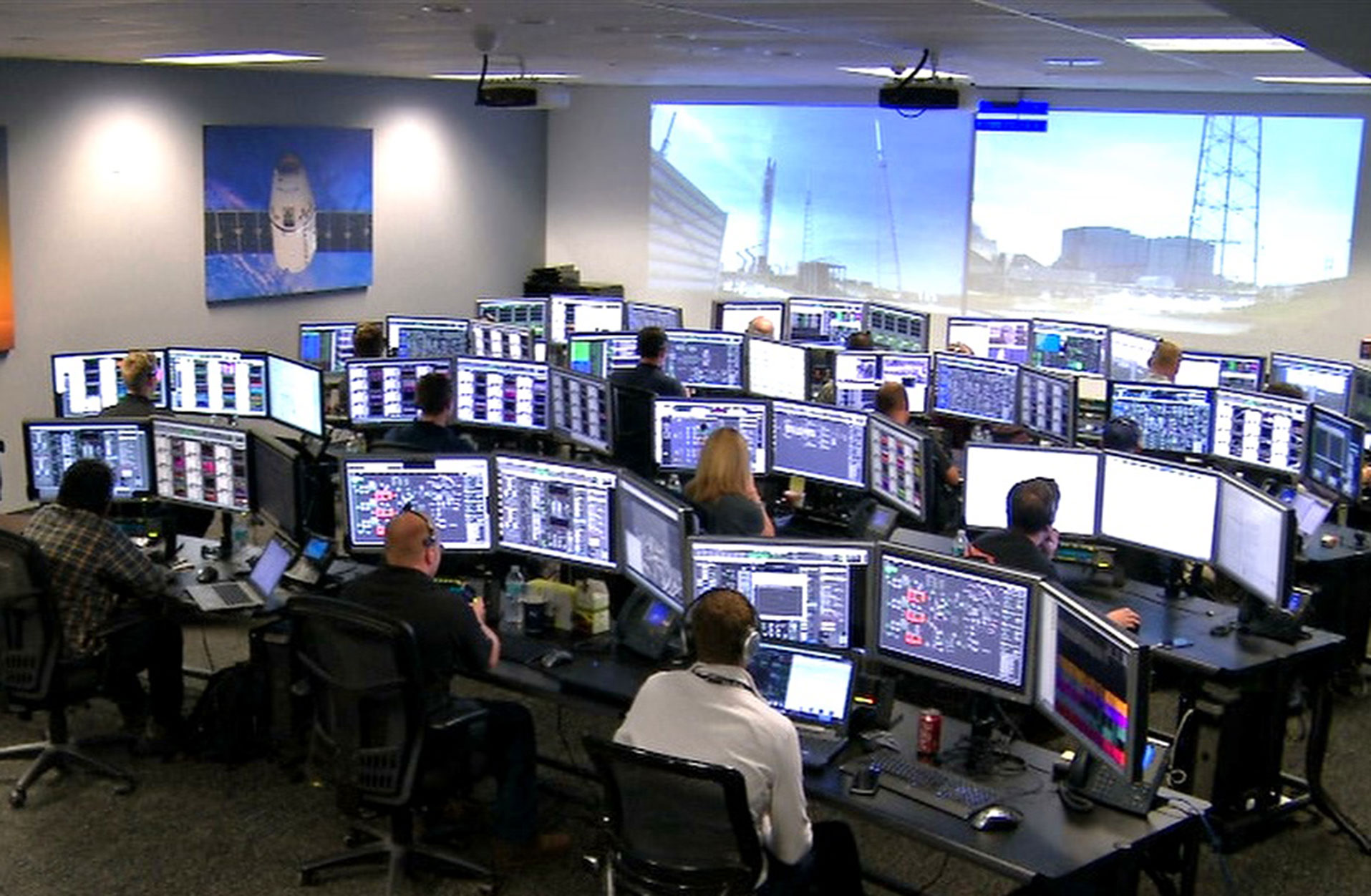 engineers at spacex launch control center