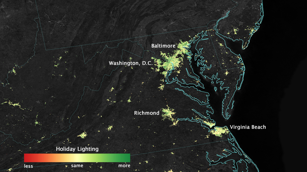 map of D.C.-Baltimore region showing relative brightness of lights & Satellite Sees Holiday Lights Brighten Cities | NASA