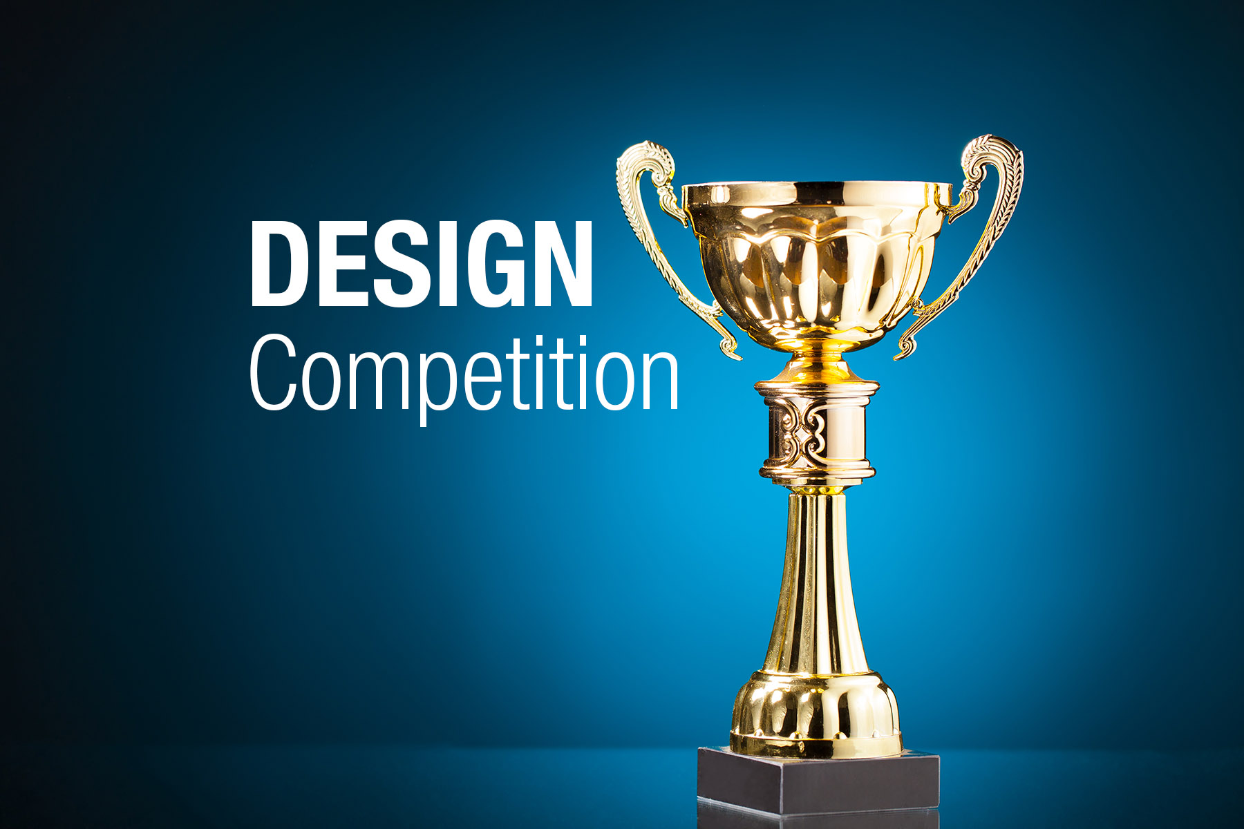 Design Competition Banner With A Gold Trophy In Front Of Blue Background