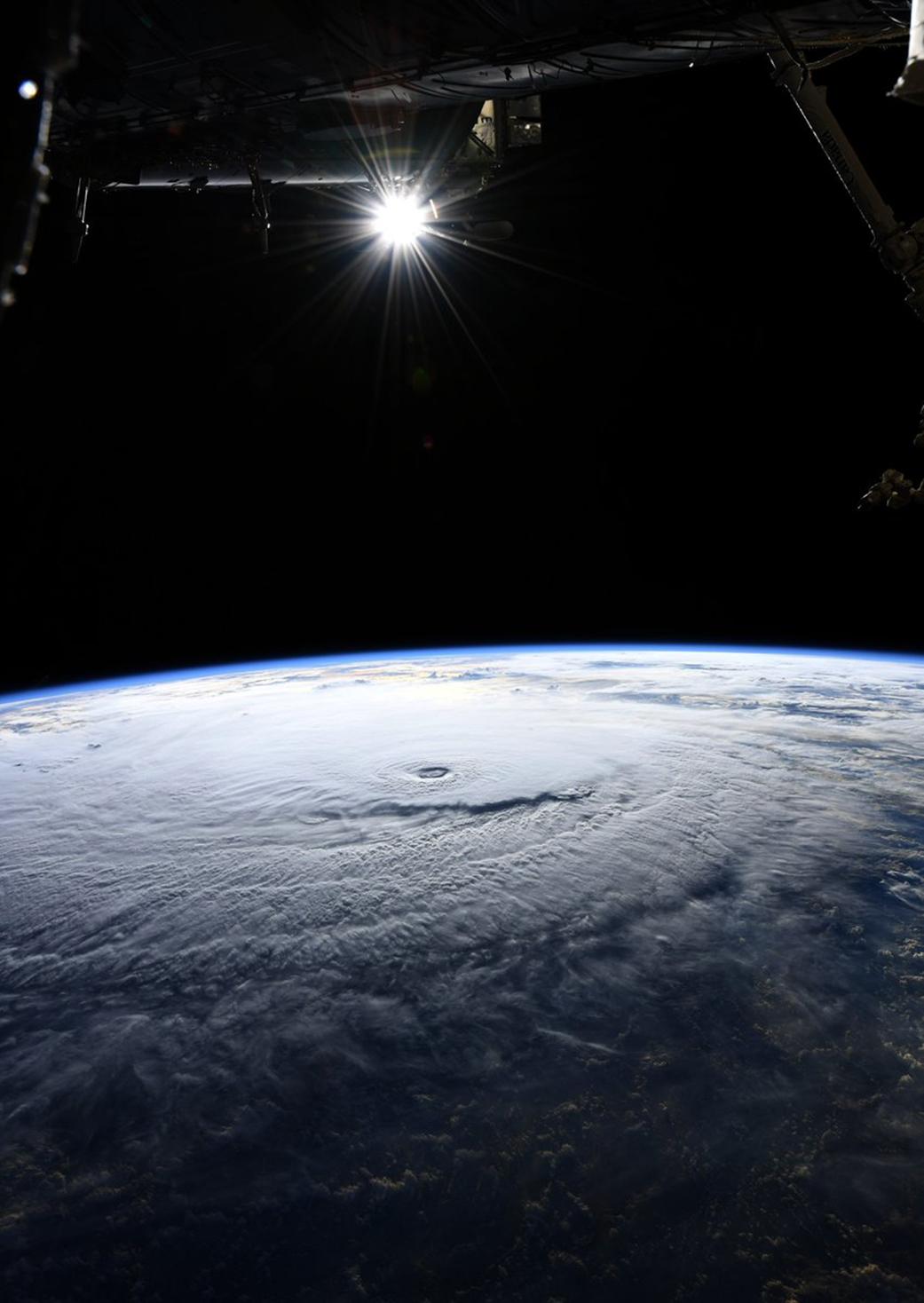 Space Station Flight Over Hurricane Lane