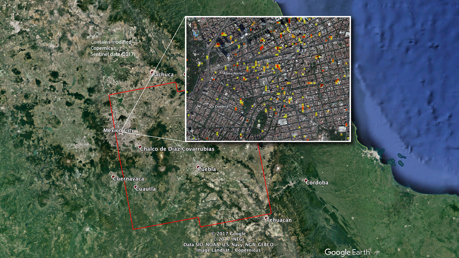 NASAProduced Damage Maps May Aid Mexico Quake Response NASA - Map of us land originally held by mexico