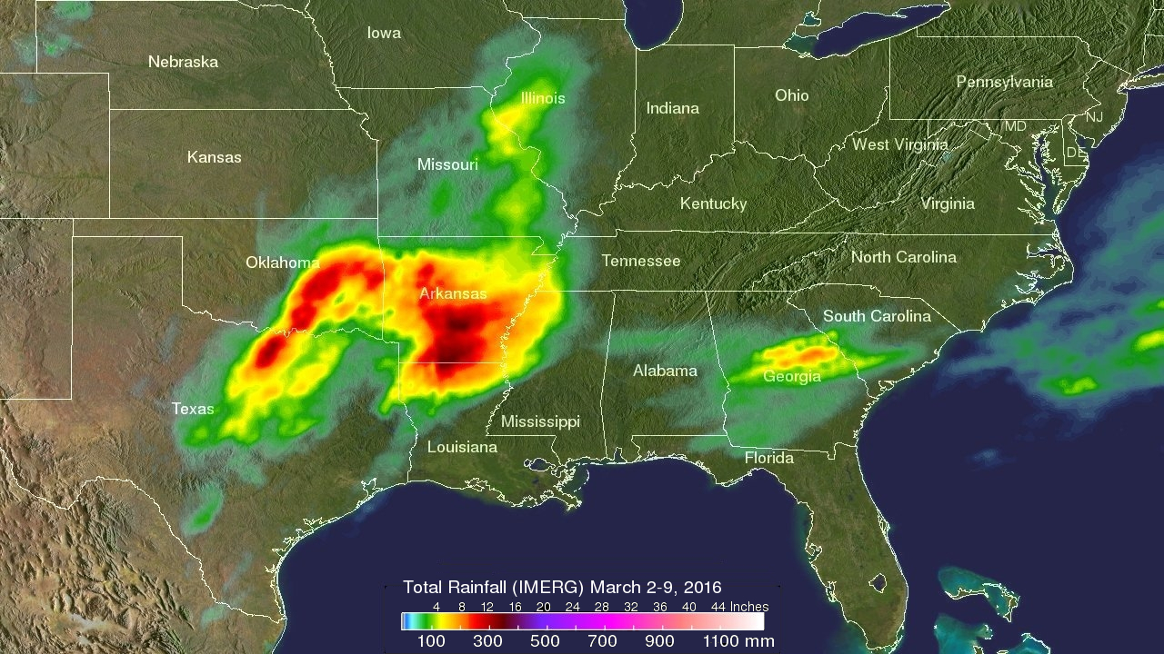 Nasas Gpm Satellite Measured Heavy Rainfall In The South Us Rainfall Map Usa