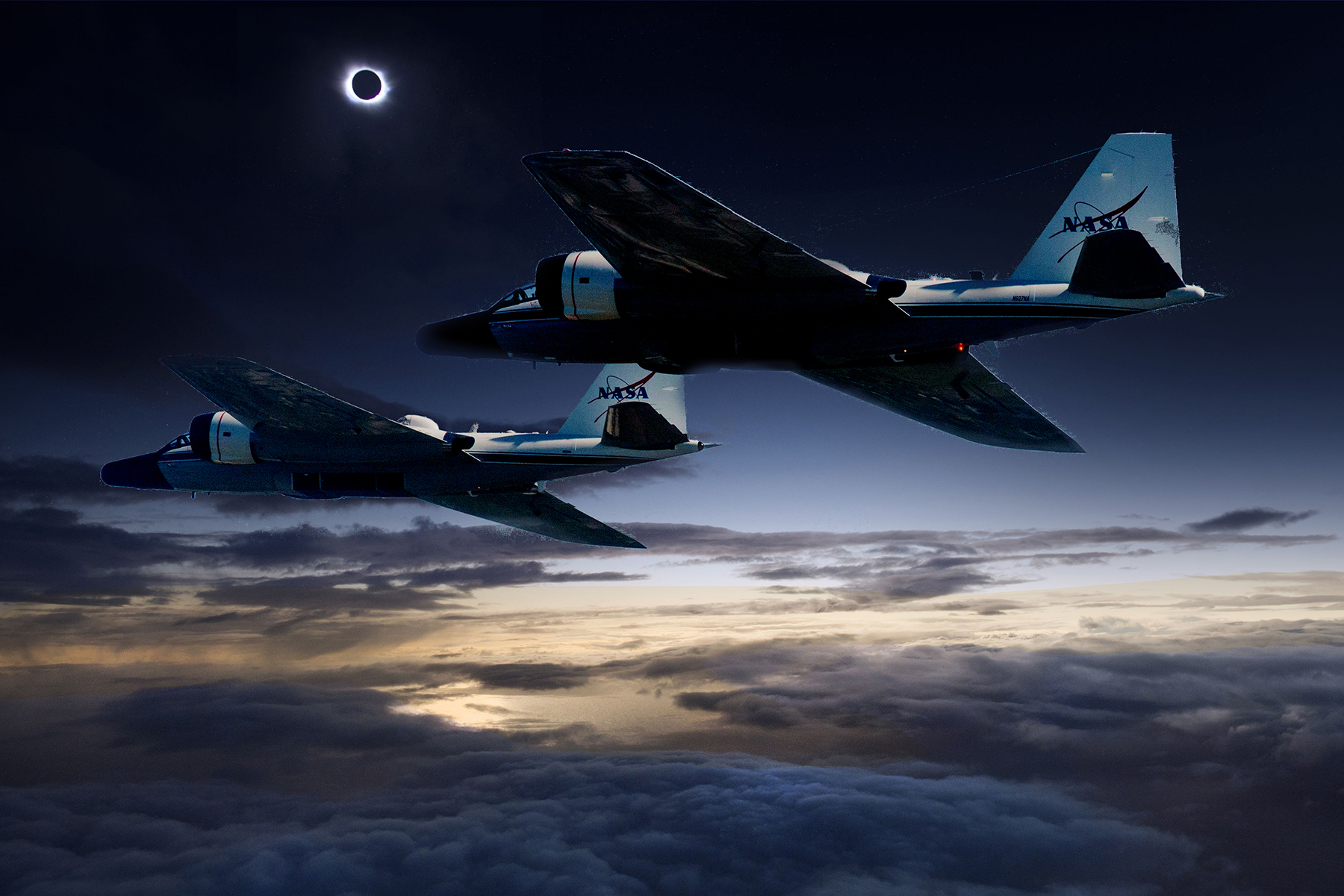 Composite Image Of Wb57f Planes And A Solar Eclipse