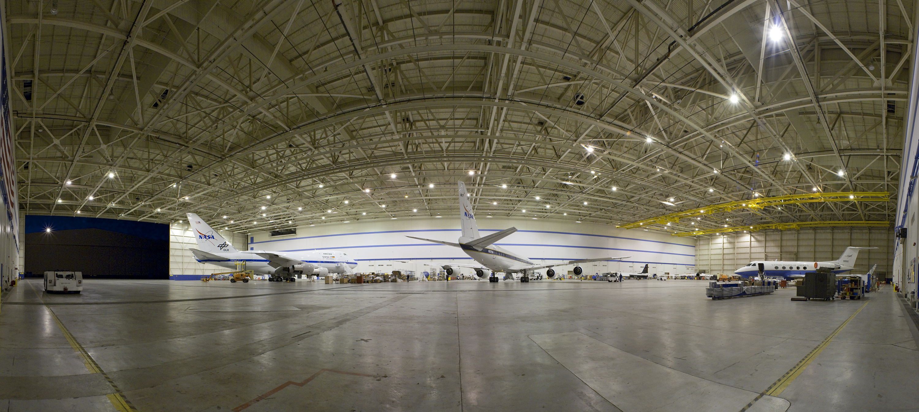 a nasa aircraft in hangar -#main