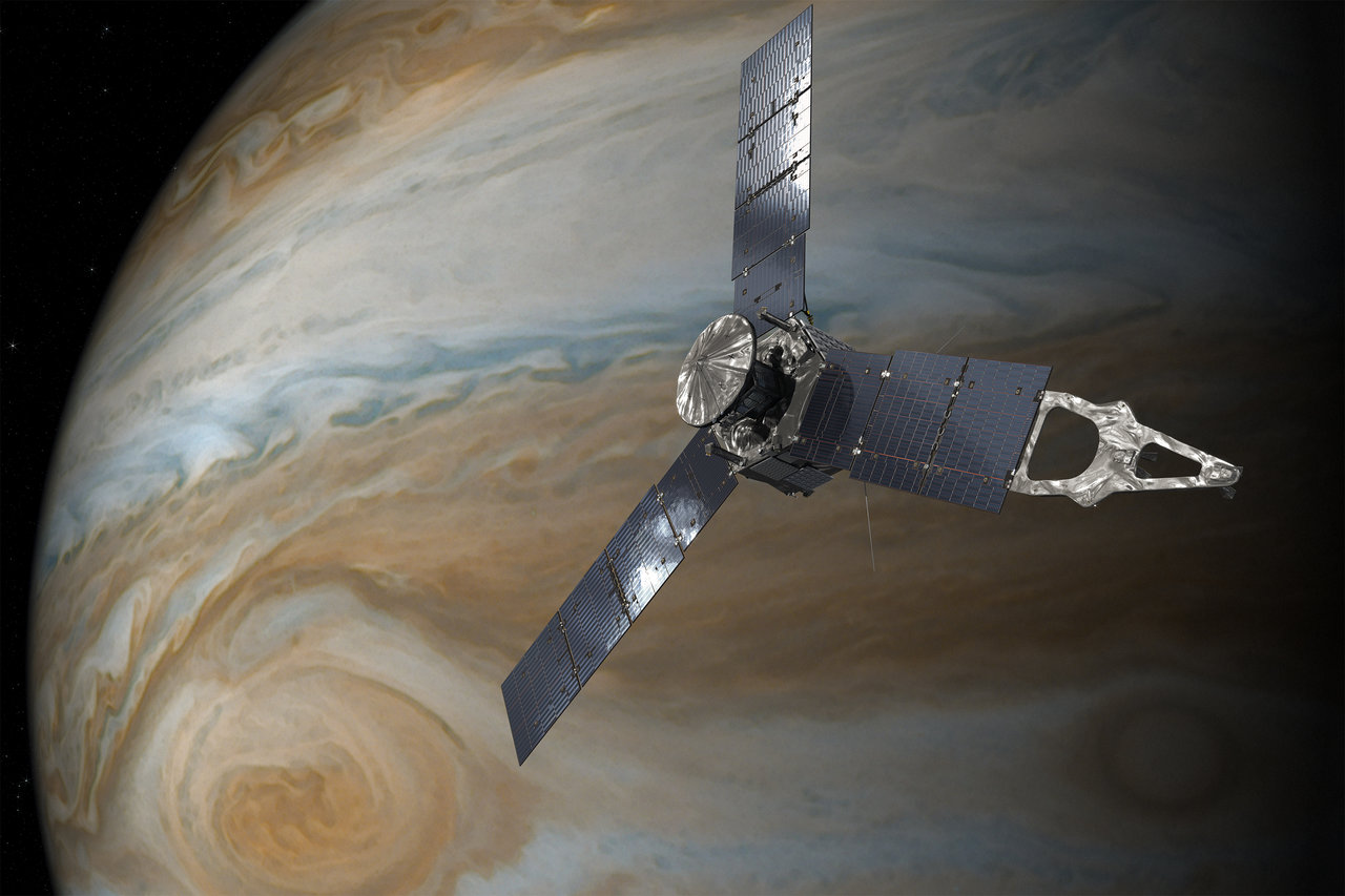 juno enters orbit around jupiter nasa artist s concept of the juno spacecraft orbiting jupiter