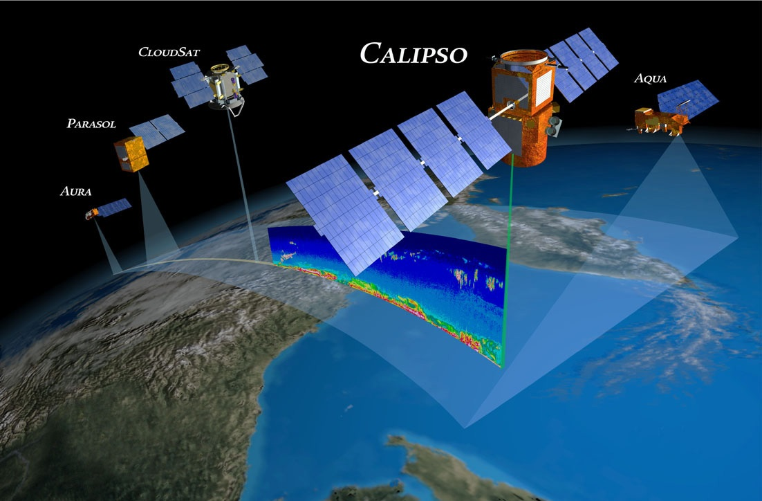 Artist's Concept Of Satellites Scanning Earth From Orbit