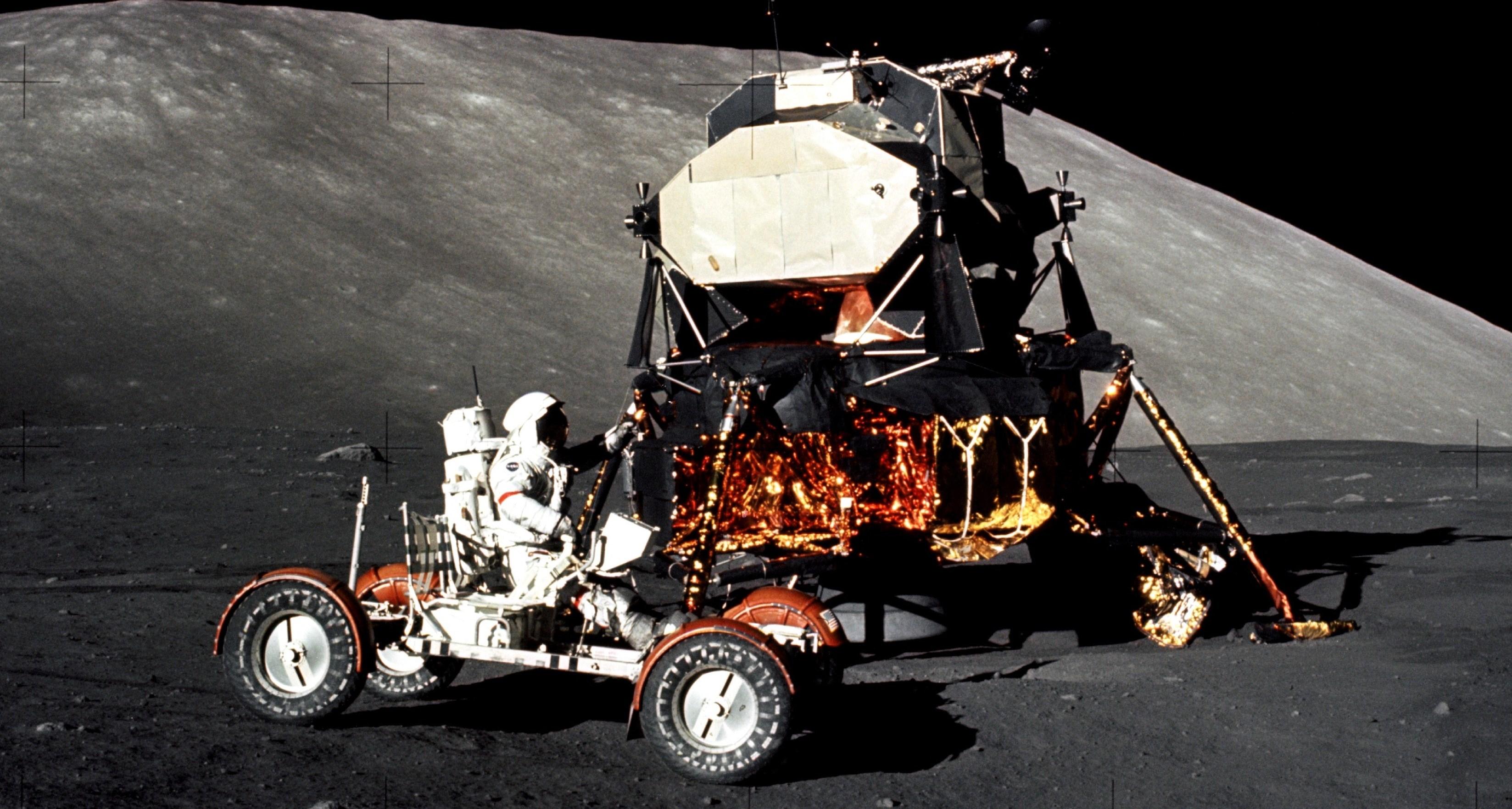 Apollo 17 Mission Commander Eugene Cernan Drives Lunar ...