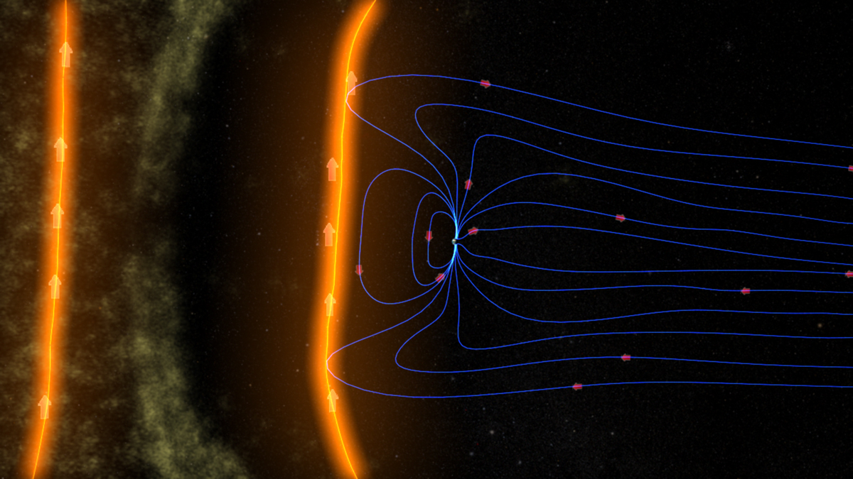 An Illustration Of Earths Magnetic Field Shielding Our Planet From Solar Particles