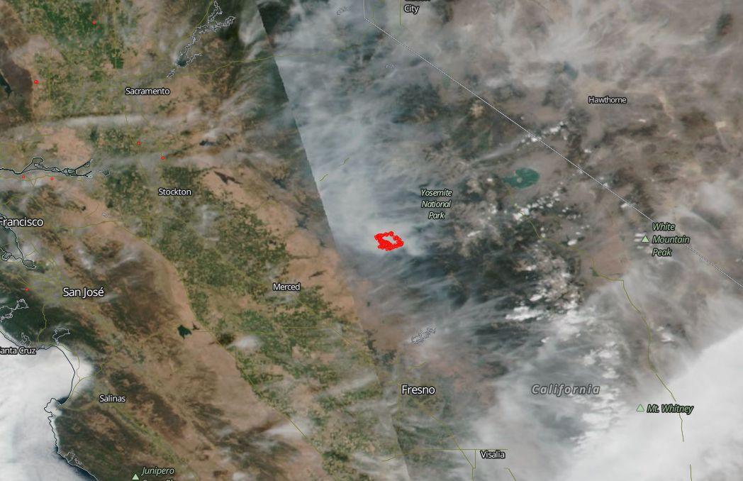 Ferguson Fire California Map.Smoke From Ferguson Fire Obscures Much Of California Nasa