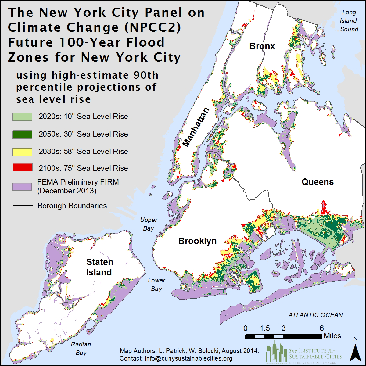 Future 100 Year Flood Zones For New York City Based On The High Estimate
