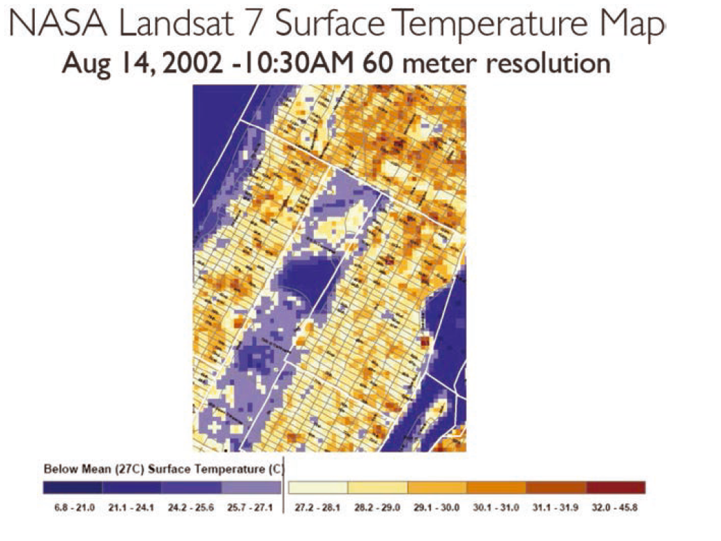 Nasa Landsat Surface Temperature Map Of Mid Town Manhattan With Central Park In The Center