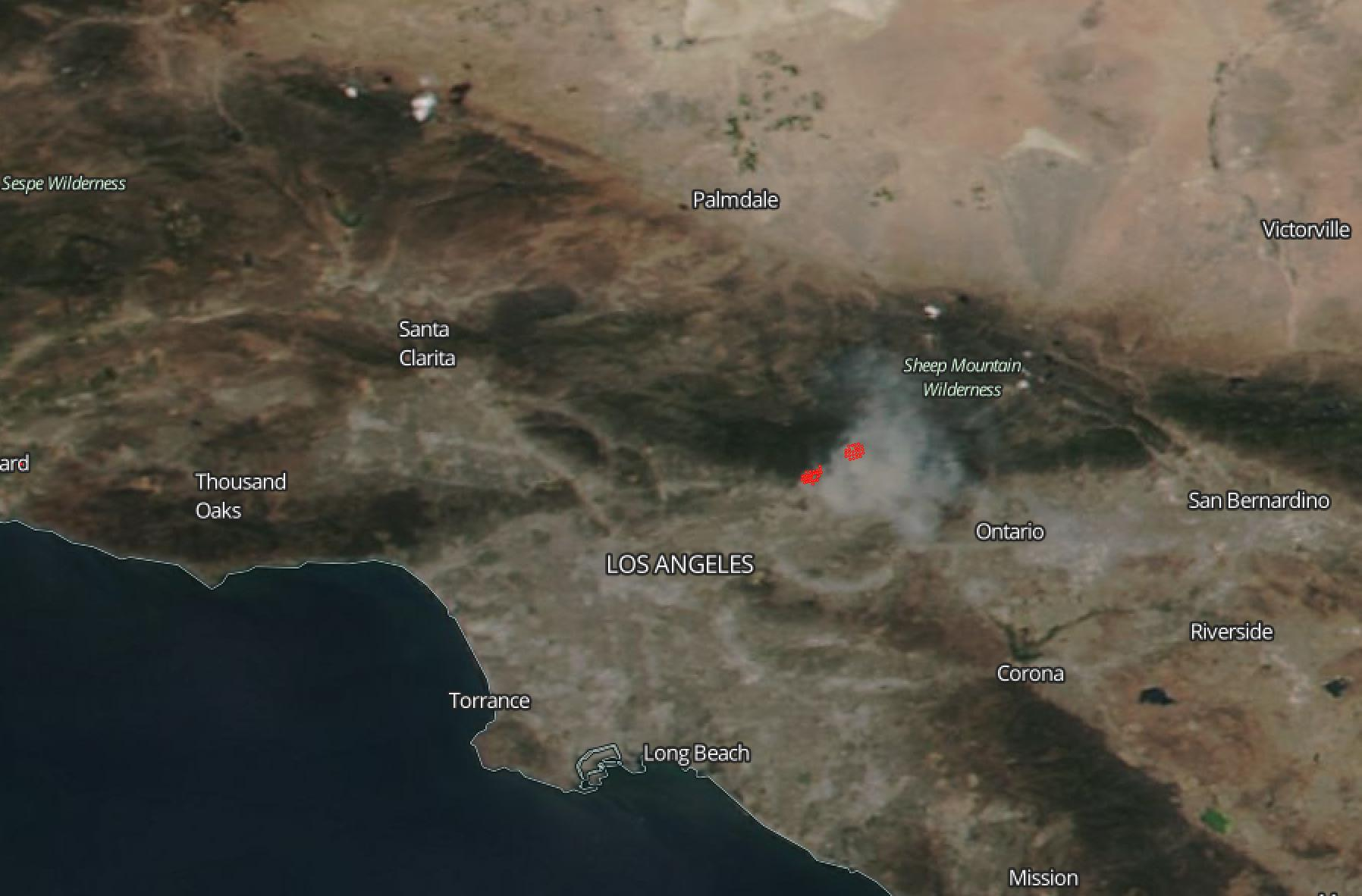 Reservoir And Fish Fires Blaze Near Los Angeles NASA - Los angeles county air quality map