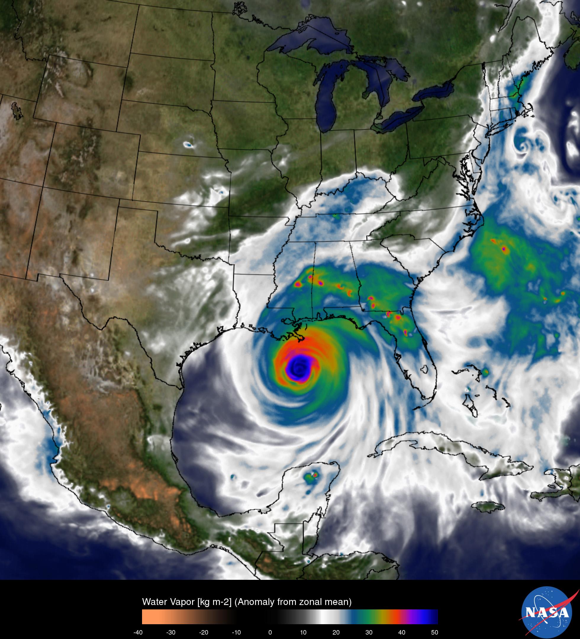 10 Years After Hurricane Katrina: The Sea Service Response ...  Hurricane Katrina Satellite Thermal