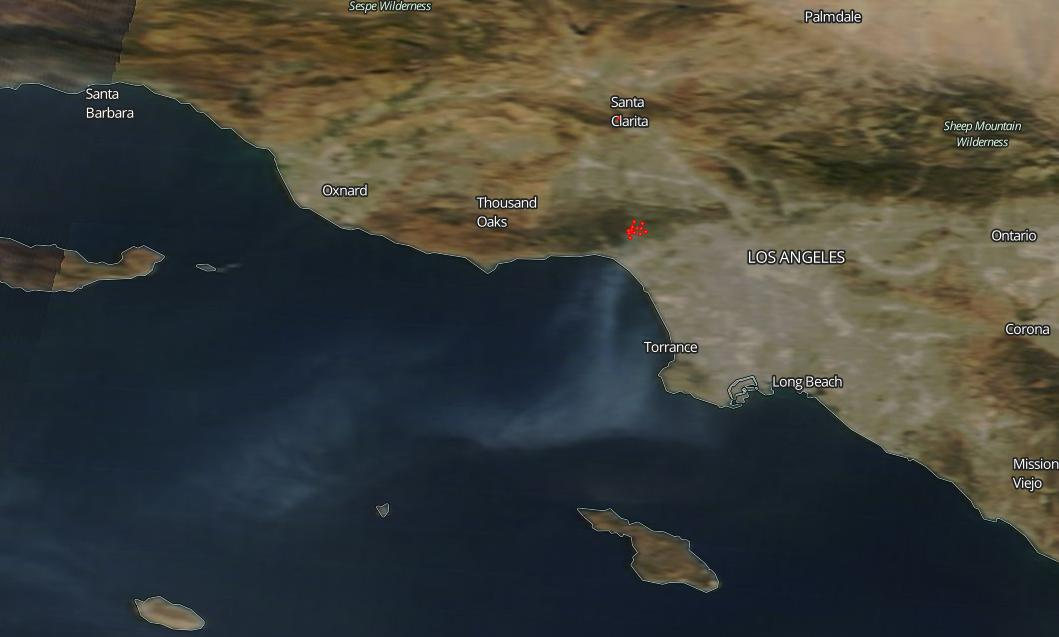 Southern California's Getty Fire Continues to Burn | NASA on oakland fire map, carmel valley fire map, soda springs fire map, austin fire map, san marcos fire map, weed fire map, newhall fire map, oceanside fire map, chino hills fire map, weaverville fire map, burney fire map, solano county fire map, rancho cucamonga fire map, ukiah fire map, monterey fire map, fresno fire map, antioch fire map, san bernardino fire map, trinity county fire map, clearlake fire map,