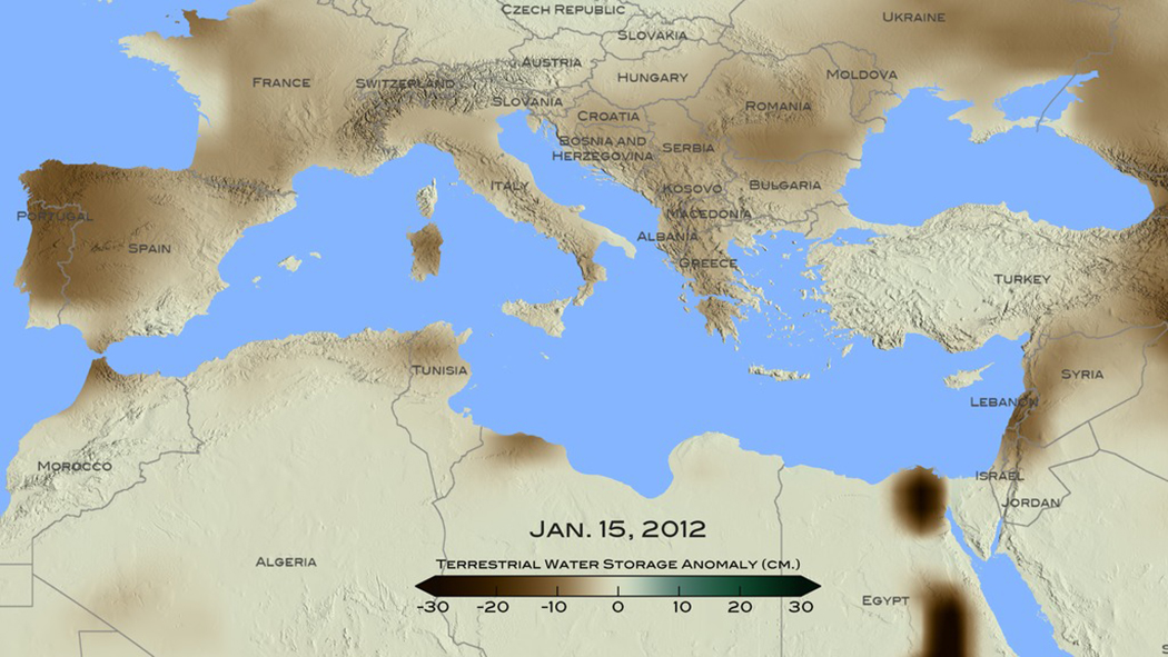Map Of Mediterranean With Land Colored With Ground Water Data And Color Bar