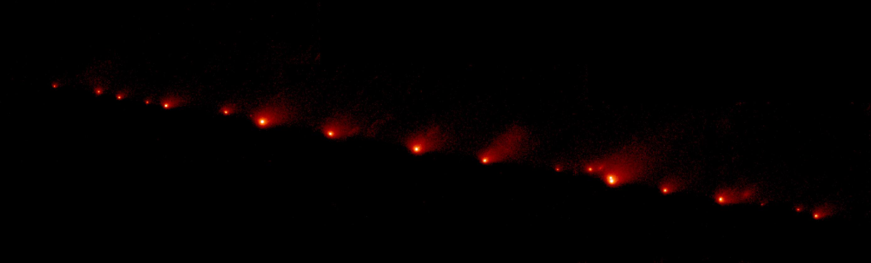 Hubble · 21 blazing fragments of Comet Shoemaker-Levy 9