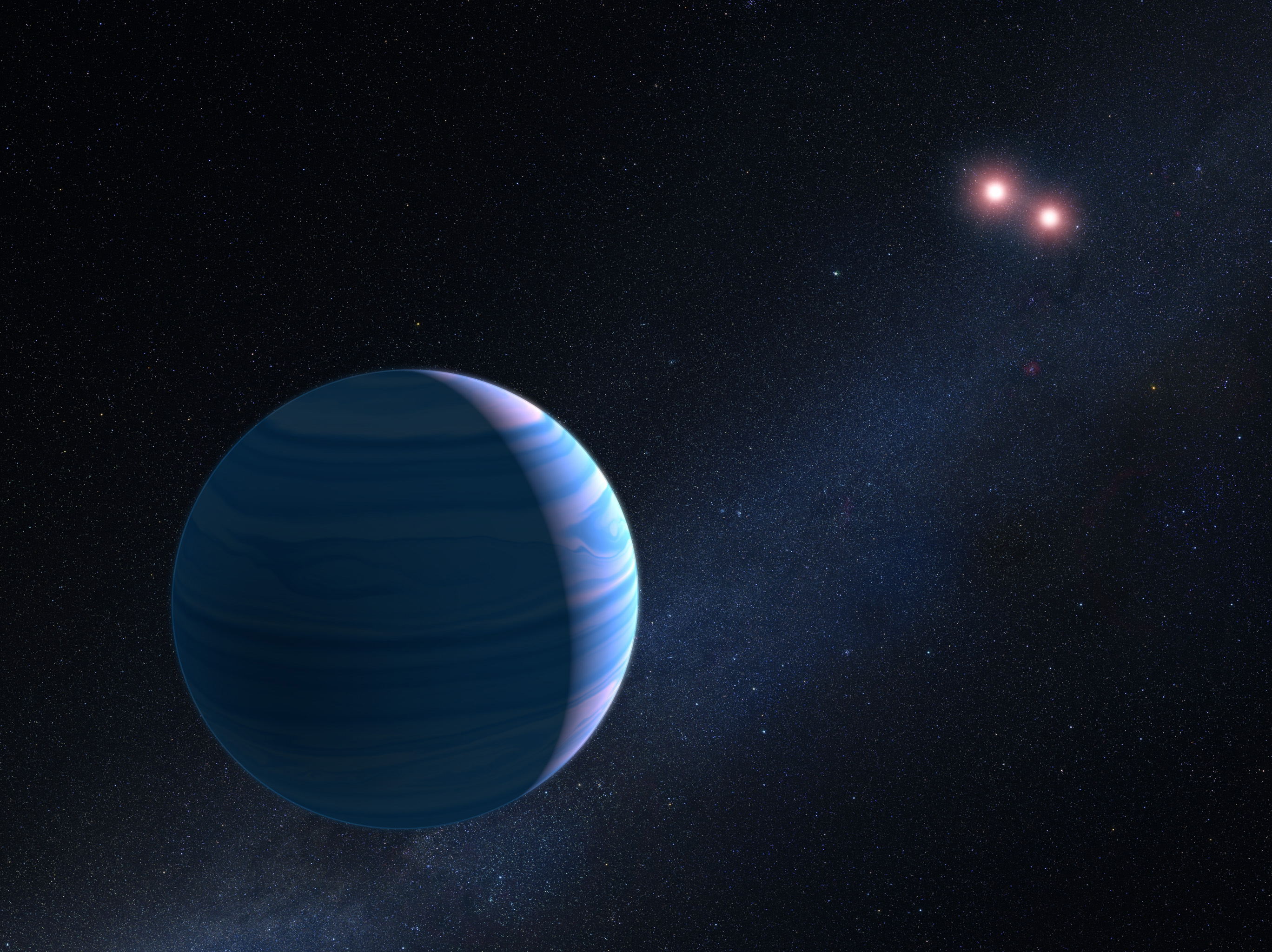 Artist Concept Of Gas Giant Planet Circling A Pair Red Dwarf Stars In The System