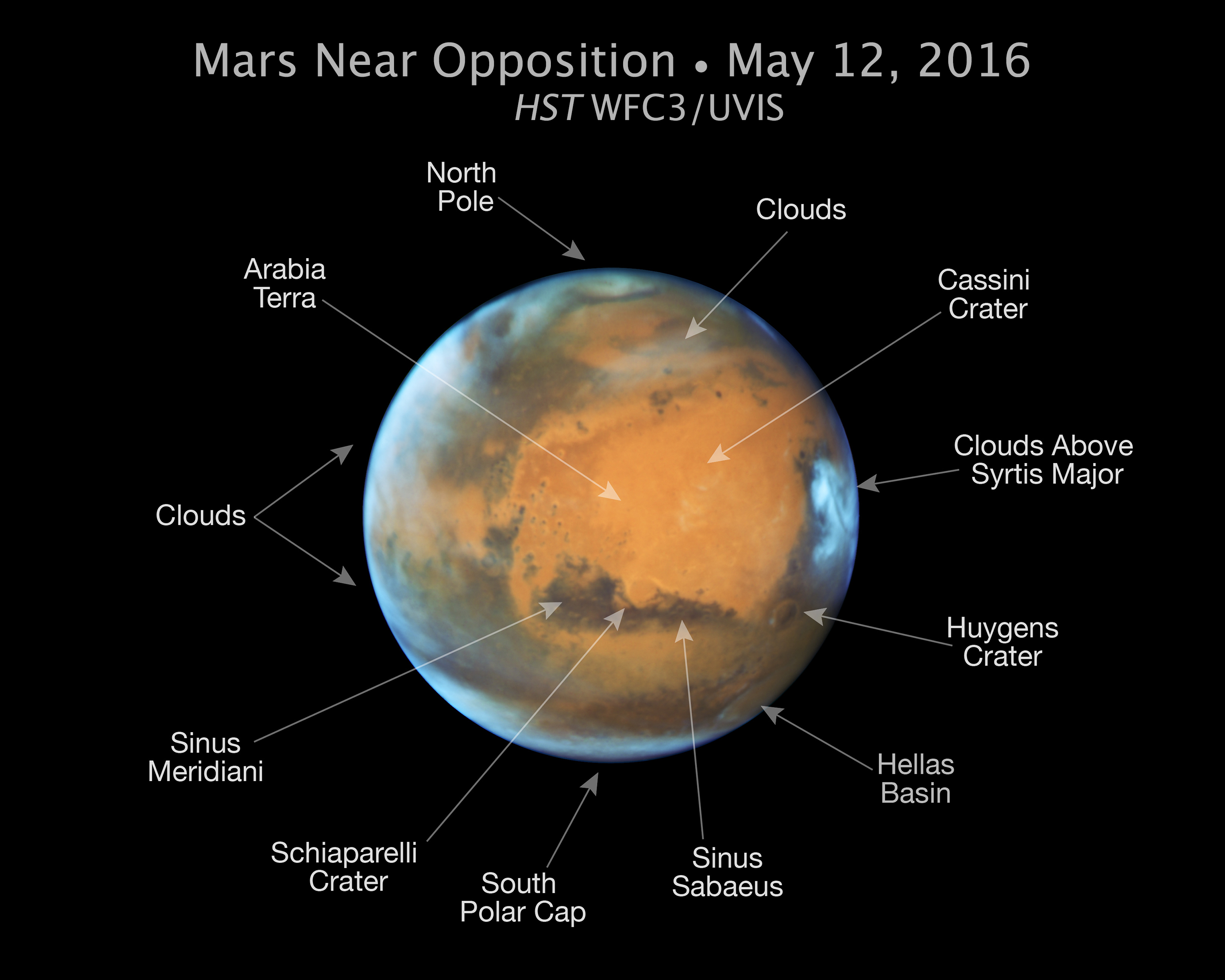 s hubble space telescope close up of the red planet mars nasa mars image major features indicated