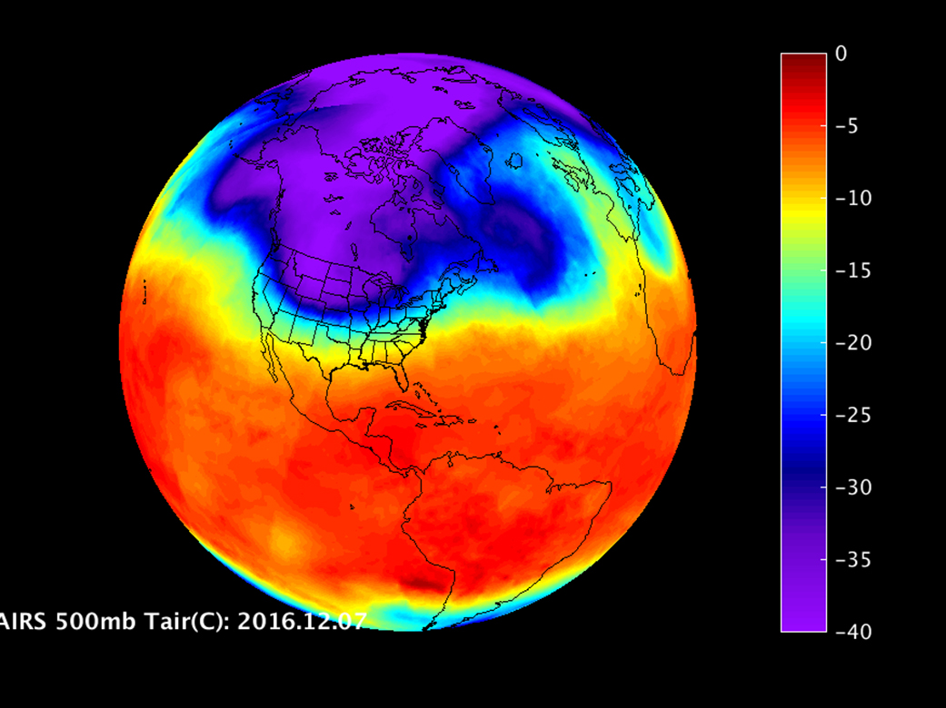 A Look at the U.S. Cold Snap from NASA Infrared Imagery   NASA